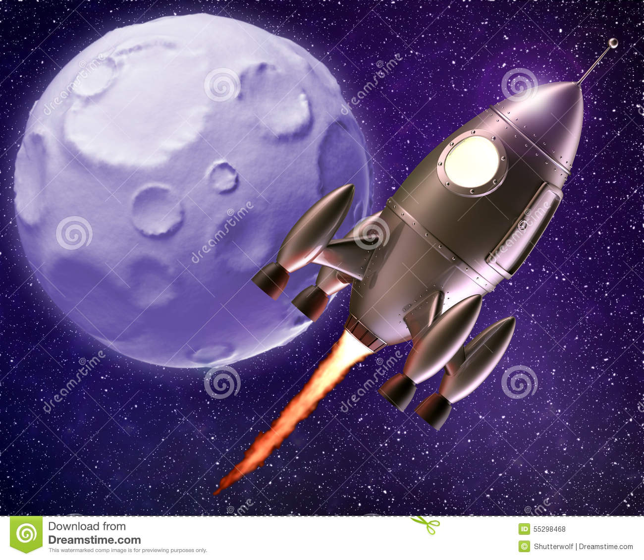 Cartoon space rocket stock image 64154197 for Flying spaces