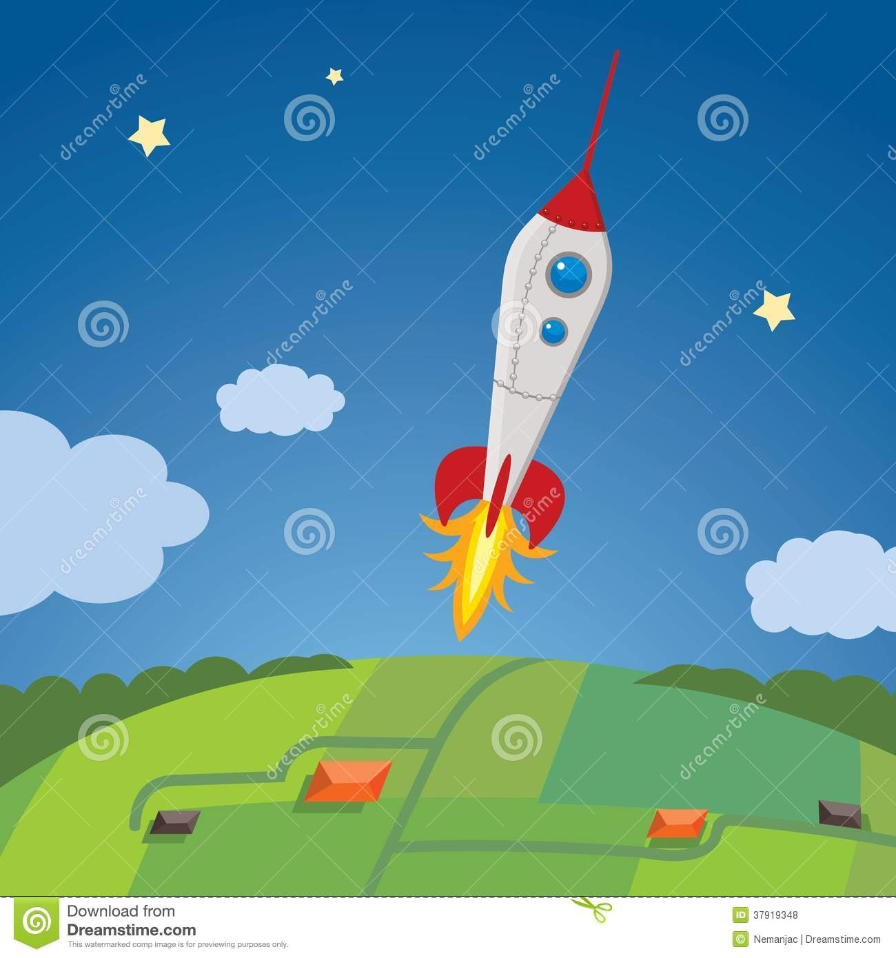 Cartoon Rocket Ship In The Sky Going Outer-space Stock