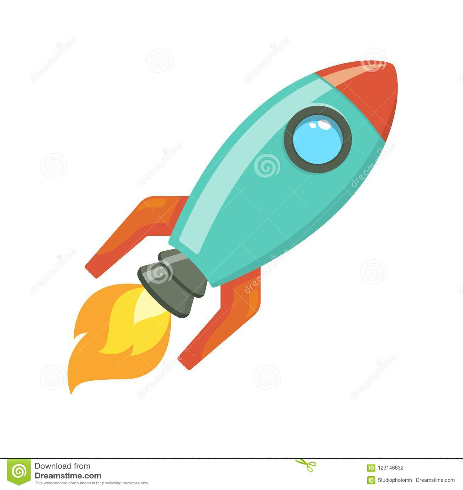 Cartoon Rocket Spaceship Take Off, Vector Illustration ...