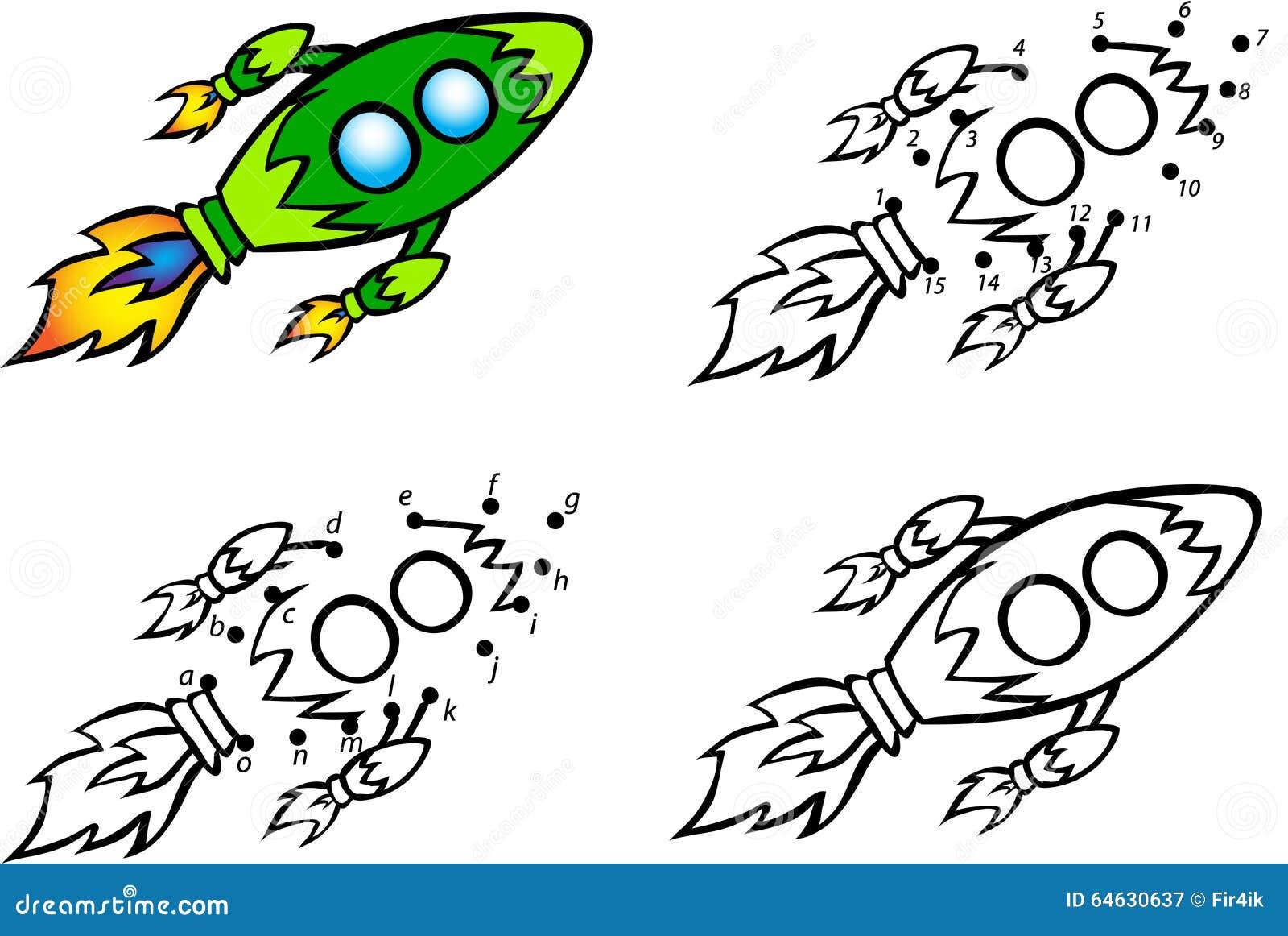 cartoon rocket  vector illustration  coloring and dot to dot gam stock vector