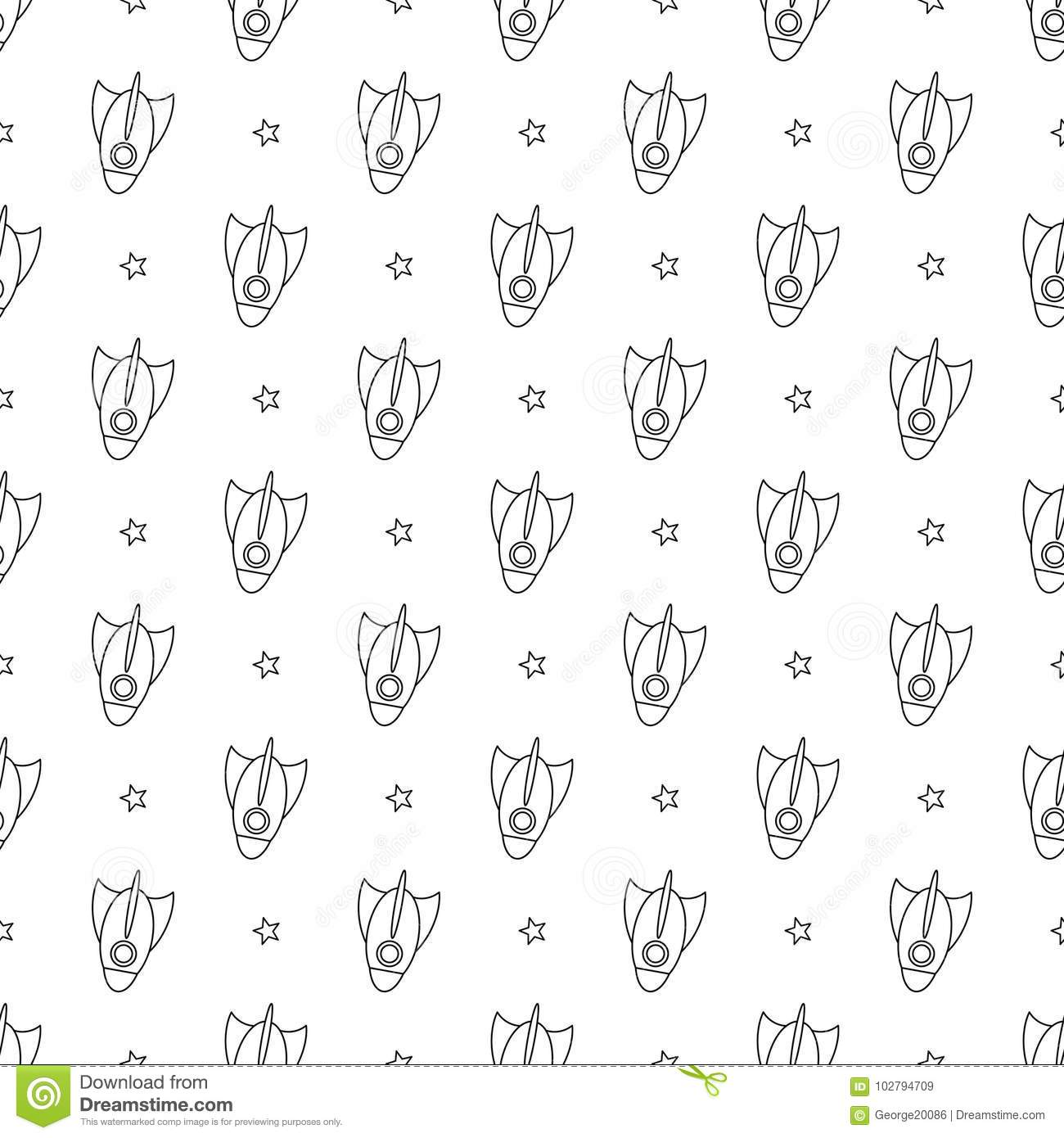 Cartoon Rockets And Stars On White Background. Linear Coloring Book ...