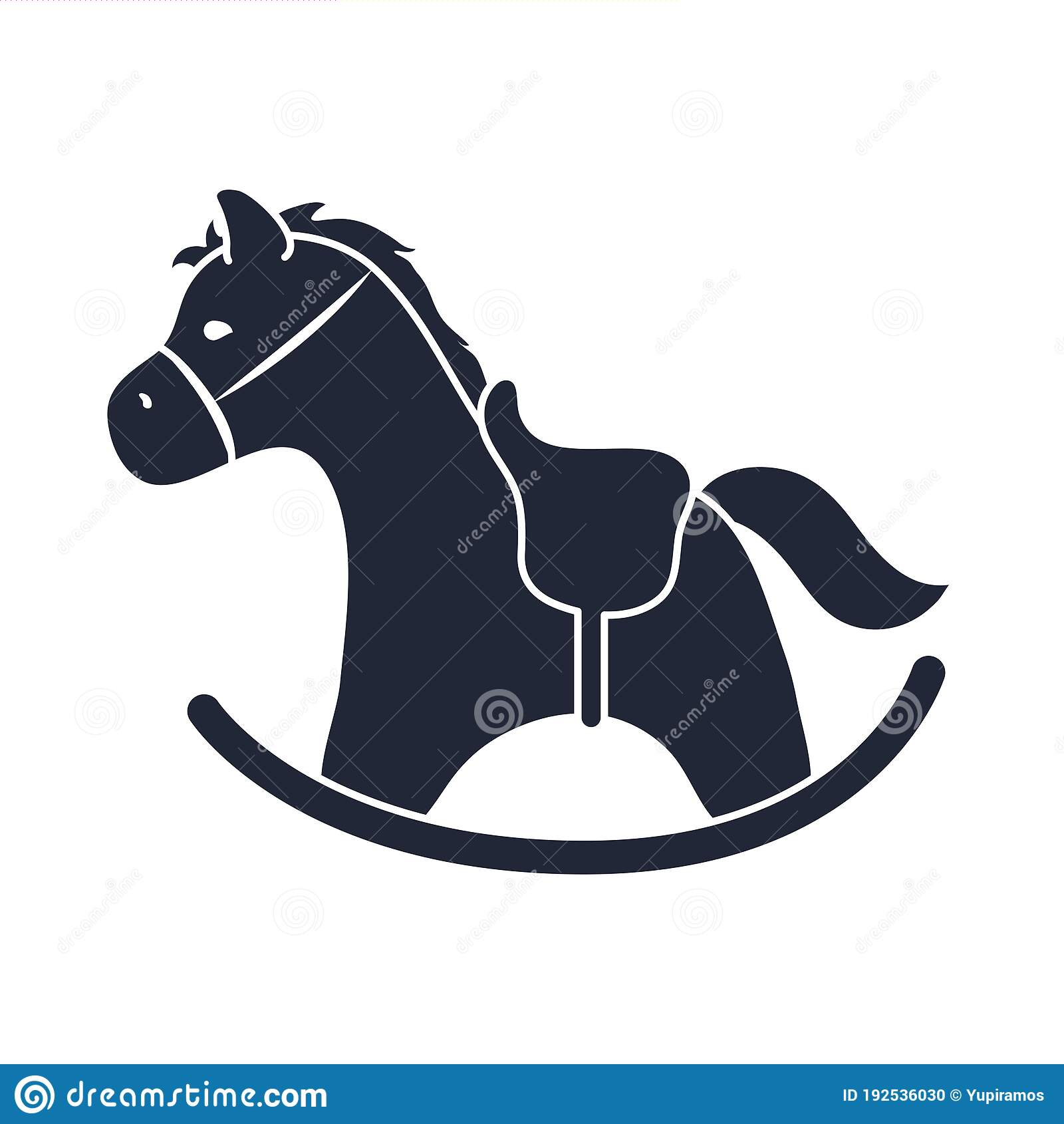 Cartoon Rocking Horse Toy Object For Small Children To Play Silhouette Style Icon Stock Vector Illustration Of Baby Isolated 192536030
