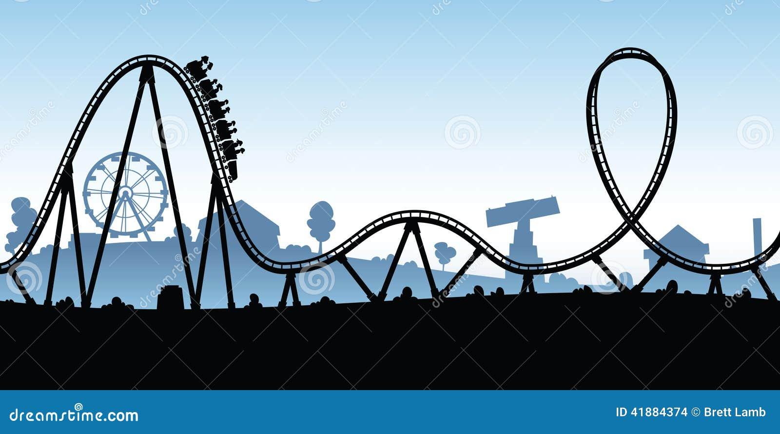 Stock Illustration Cartoon Rollercoaster Silhouette Amusement Park Image41884374 on The United States Worksheet