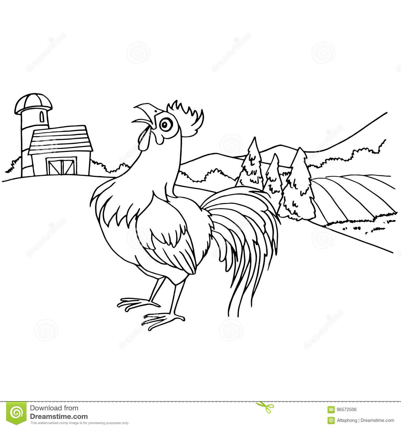 Cartoon Rooster Coloring Page Vector Stock Vector - Illustration of ...