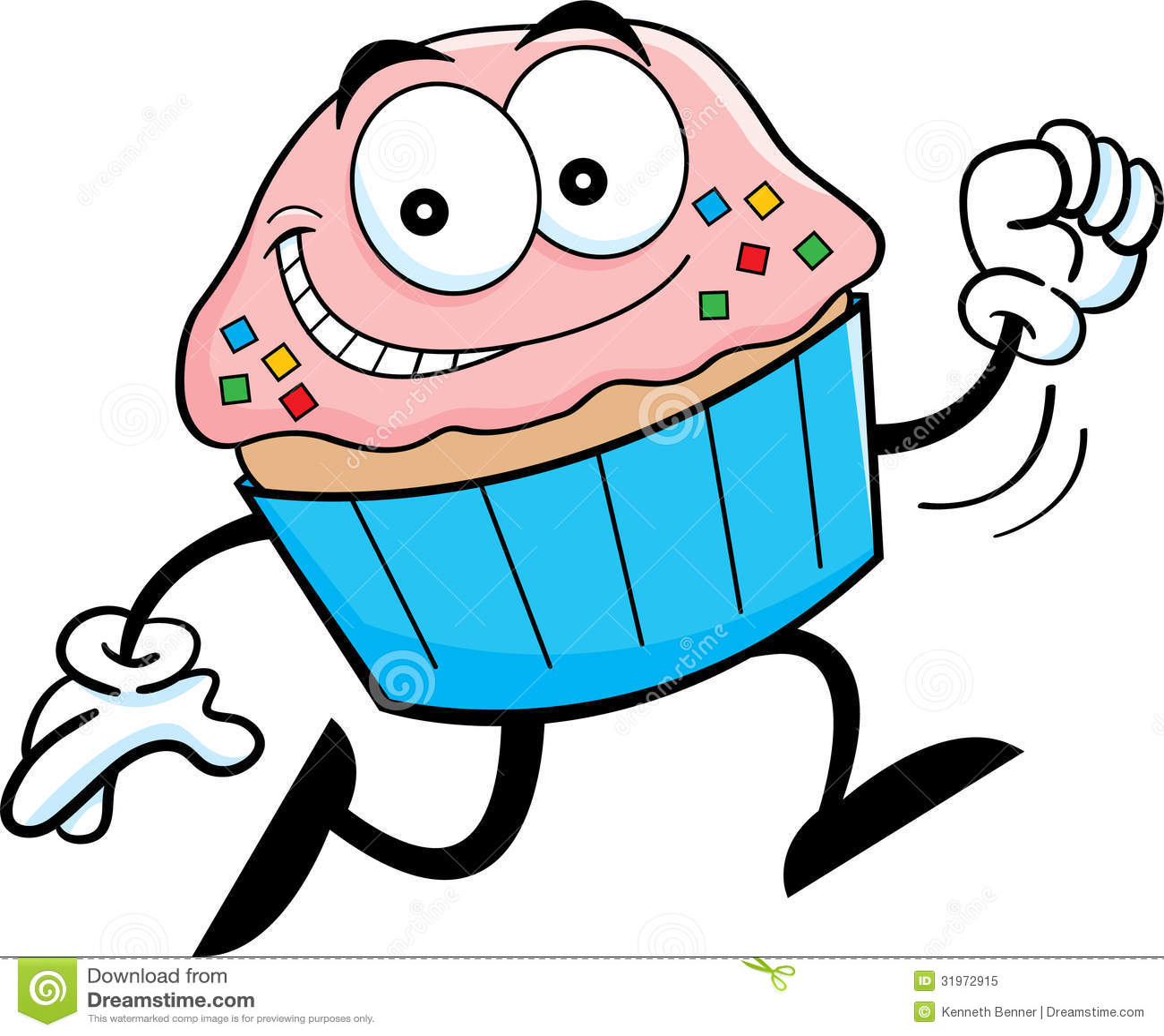 cartoon running cupcake stock vector illustration of cute 31972915