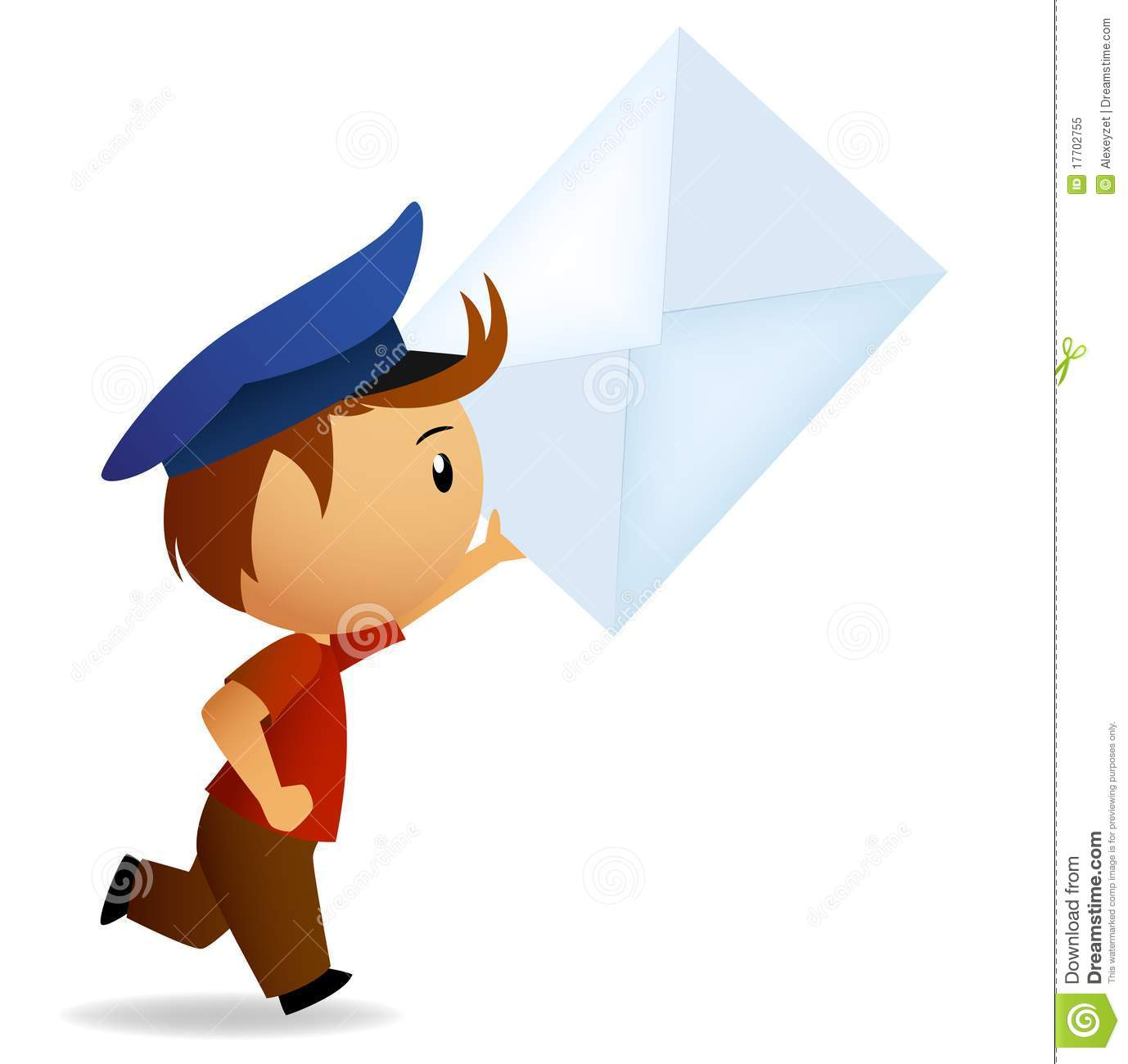 Cartoon Running Postman With Letter In Hand Royalty Free Stock Photo ...