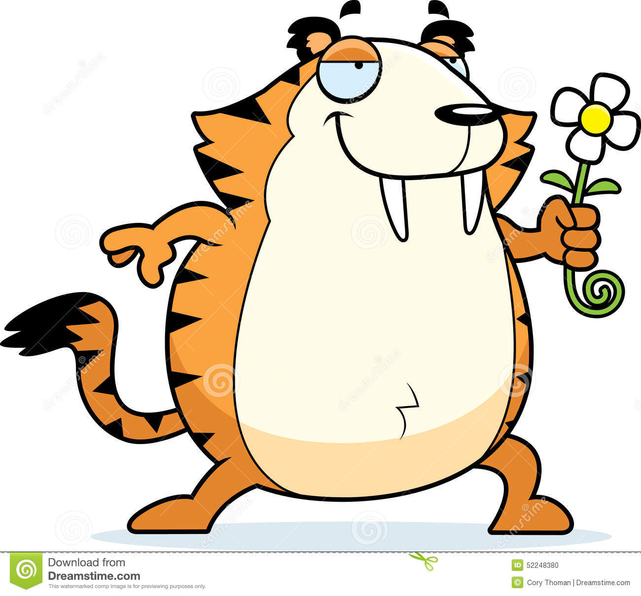 cartoon saber toothed tiger flower stock vector image 52248380