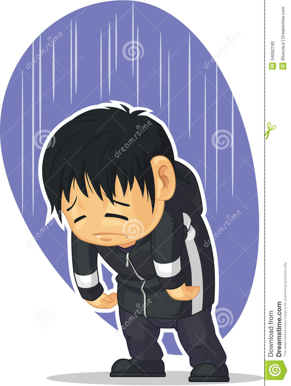 A vector image of a kid feeling depressed and sad drawn in cartoon style this vector is very good for design that need sadness concept in cute funny
