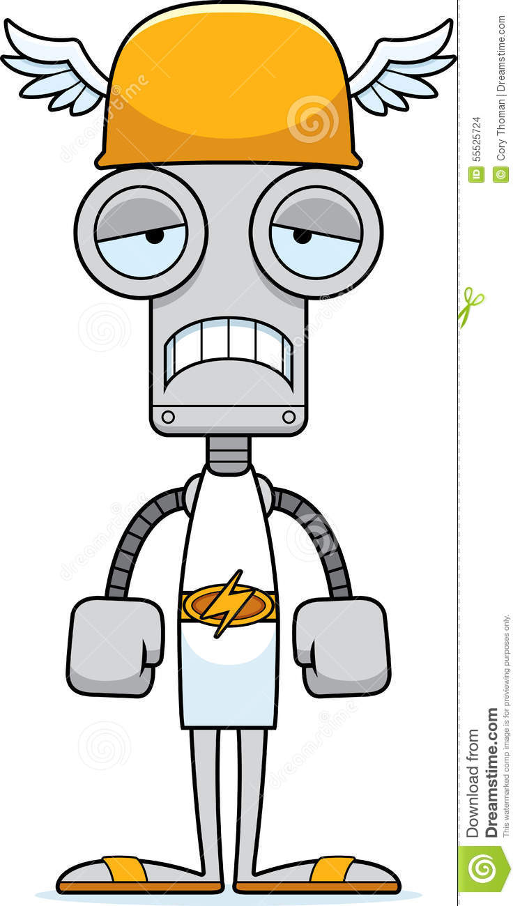 Cartoon Sad Hermes Robot stock vector. Illustration of ...