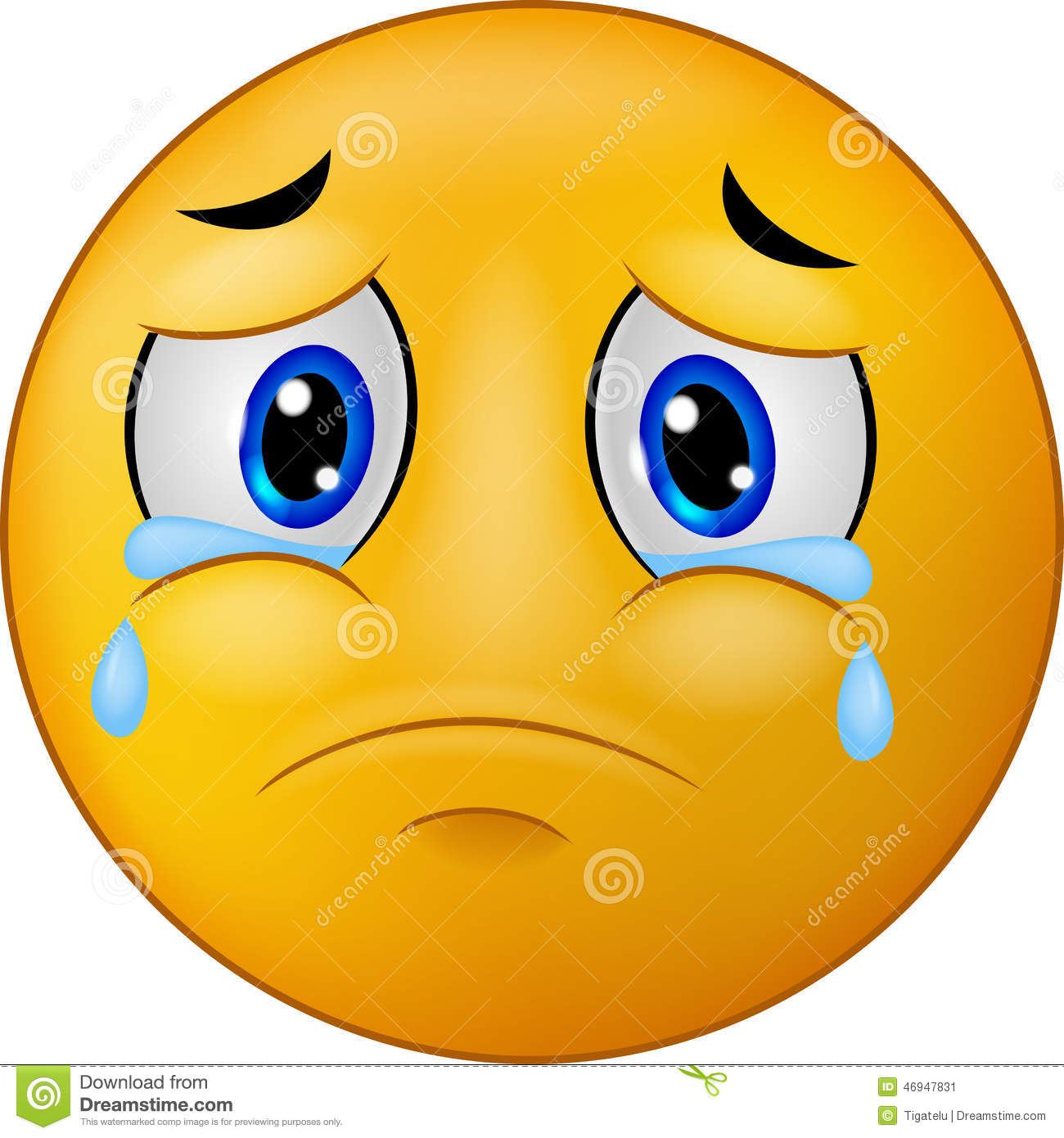Cartoon Sad Smiley Emoticon Stock Vector - Image: 46947831