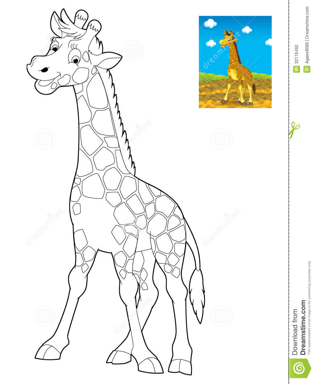 Cartoon Safari Coloring Page For The Children Stock Illustration - Free-safari-coloring-pages