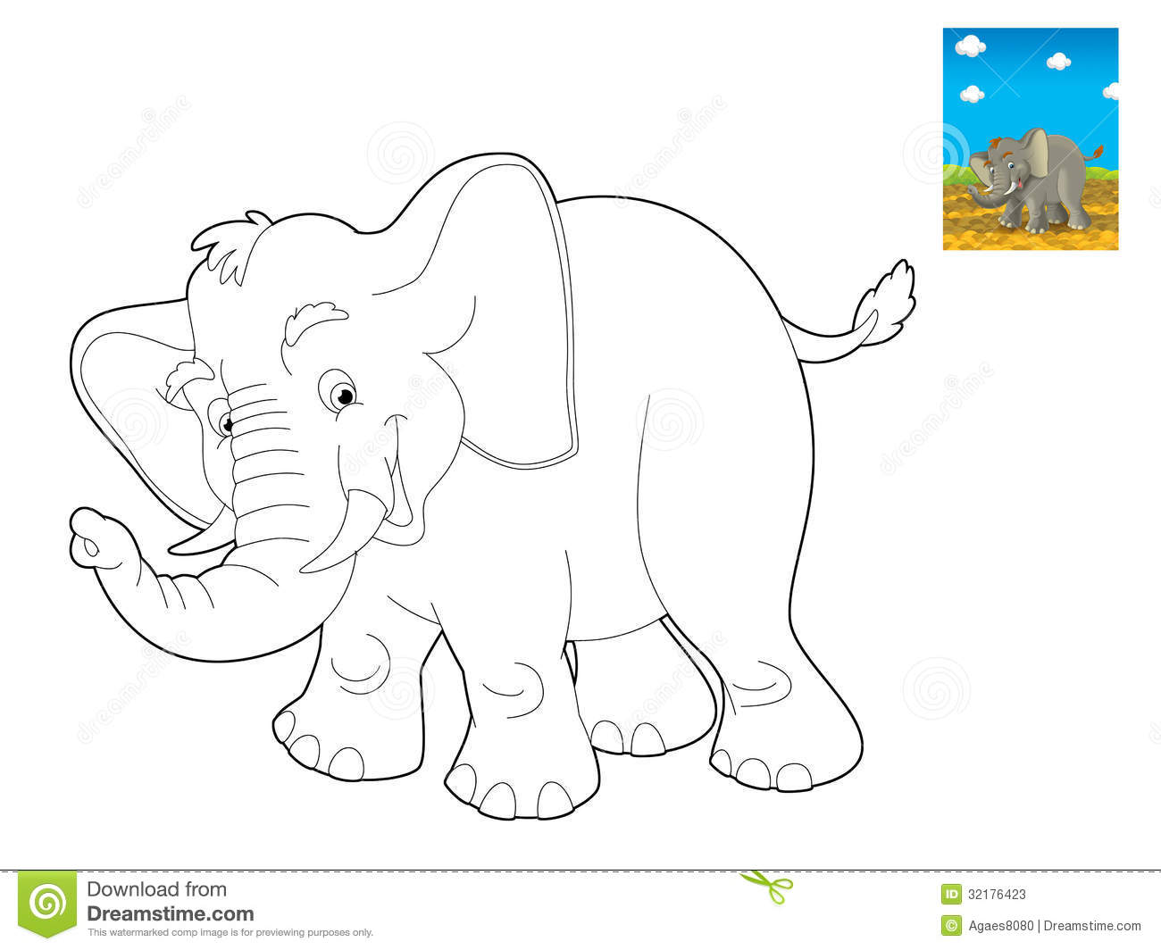 Cartoon Safari - Coloring Page - Illustration For The ...