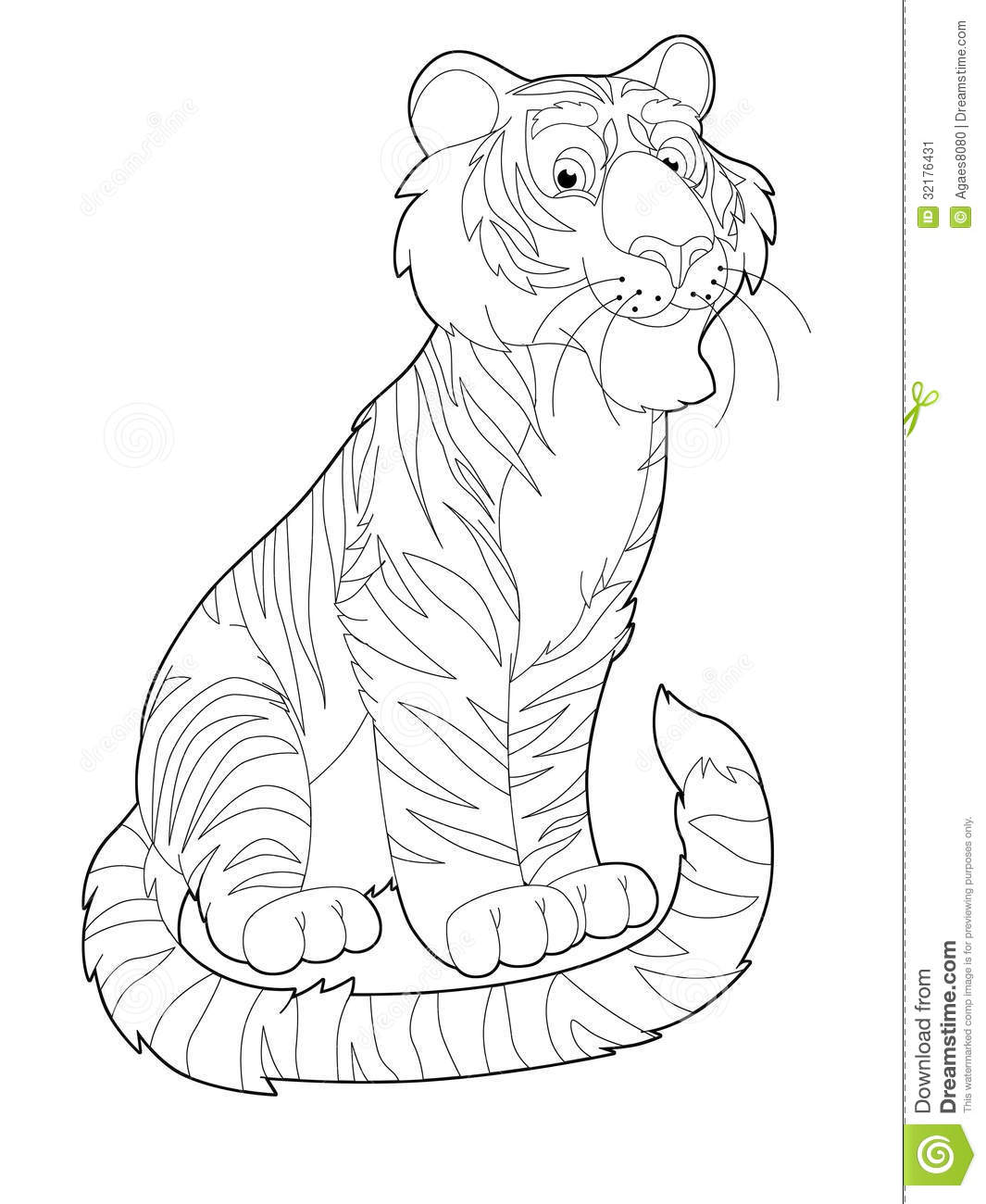 Cartoon safari coloring page illustration for the children by