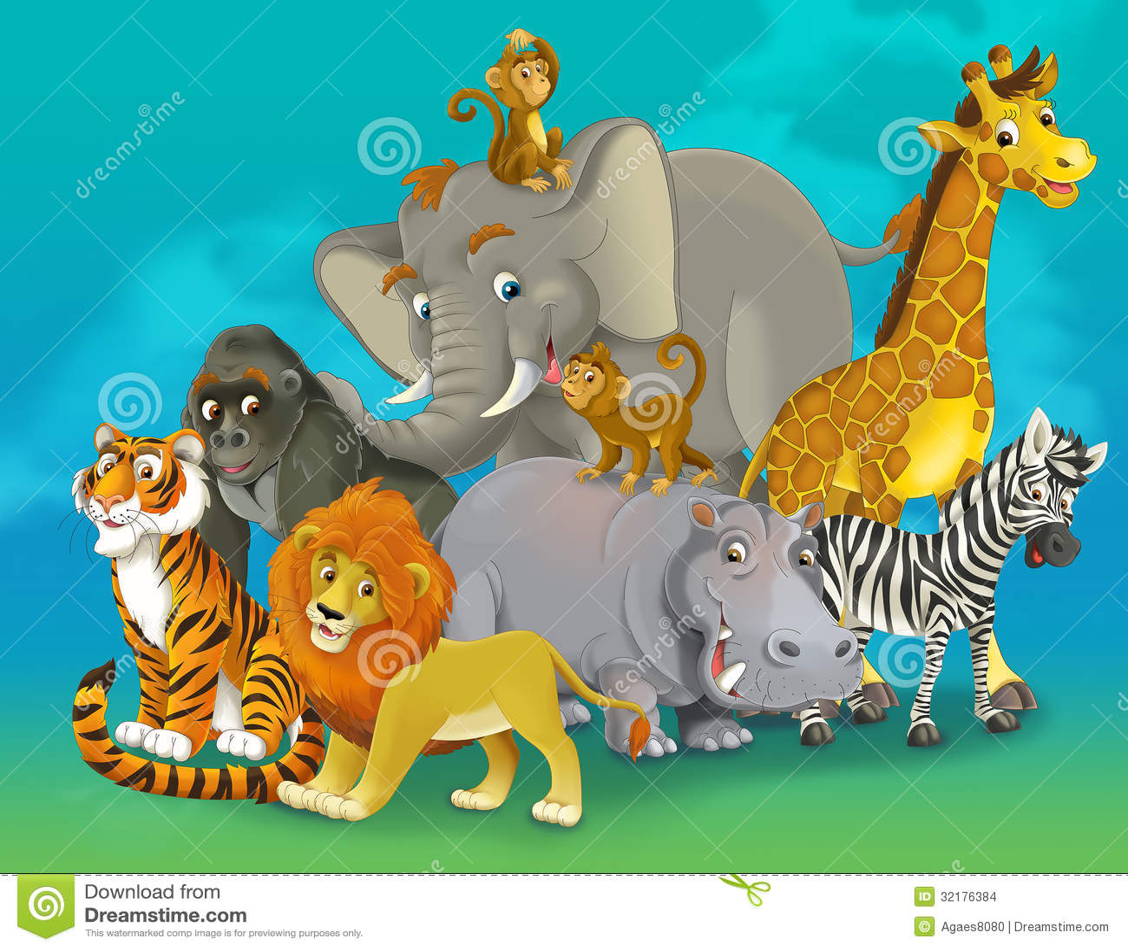 Cartoon Safari Illustration For The Children Stock