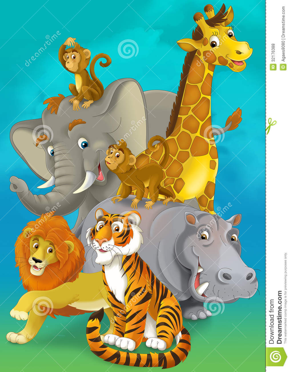 Cartoon Safari Illustration For The Children Royalty