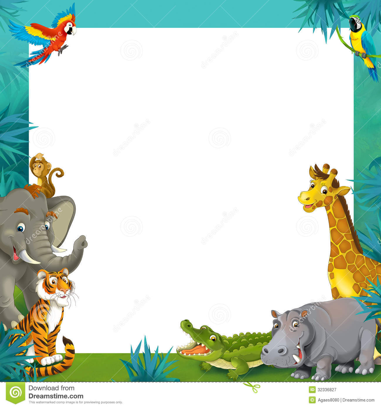 Cartoon Safari - Jungle - Frame Border Template - Illustration For The Children Stock ...