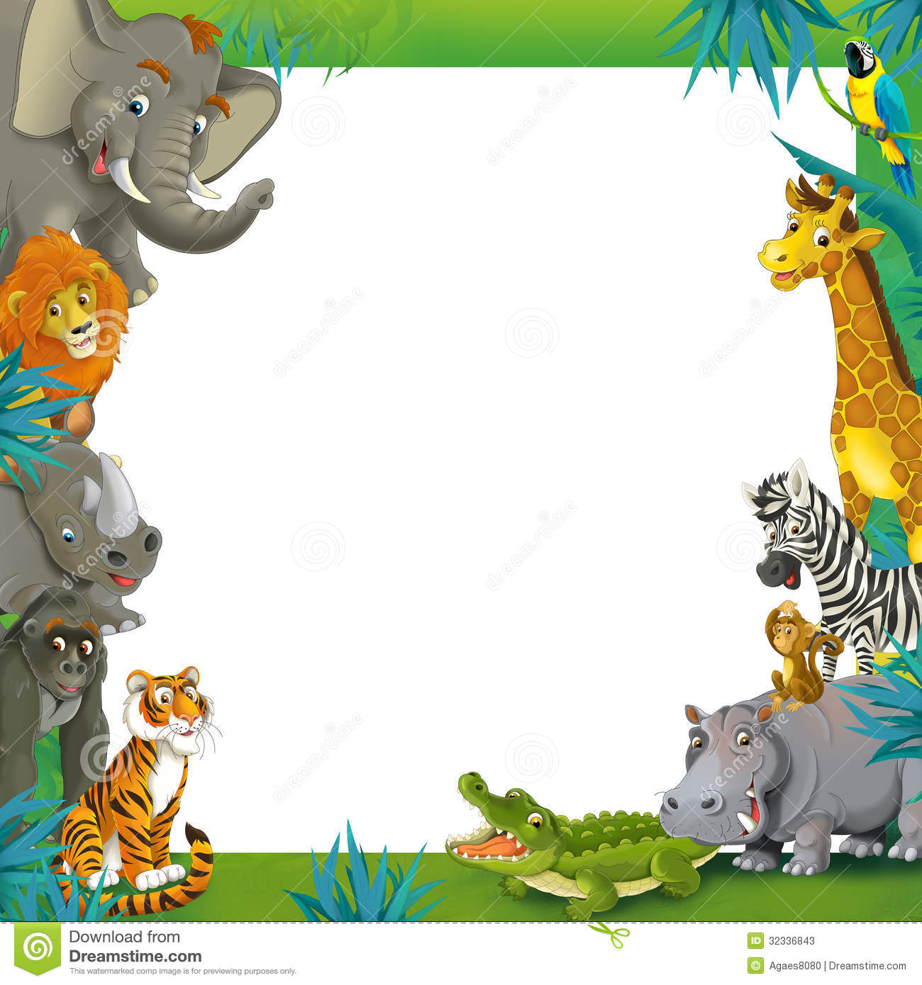 cartoon safari jungle frame border template illustration for the children stock Disney Borders and Frames Disney Character Border Frame