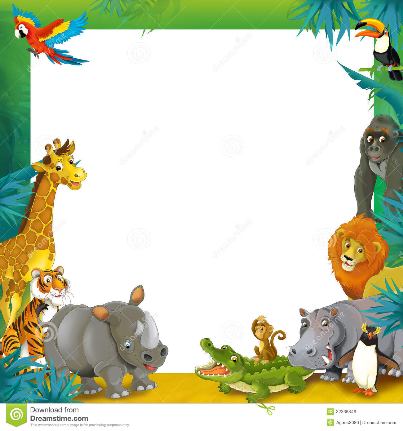 Cartoon Safari - Jungle - Frame Border Template ...