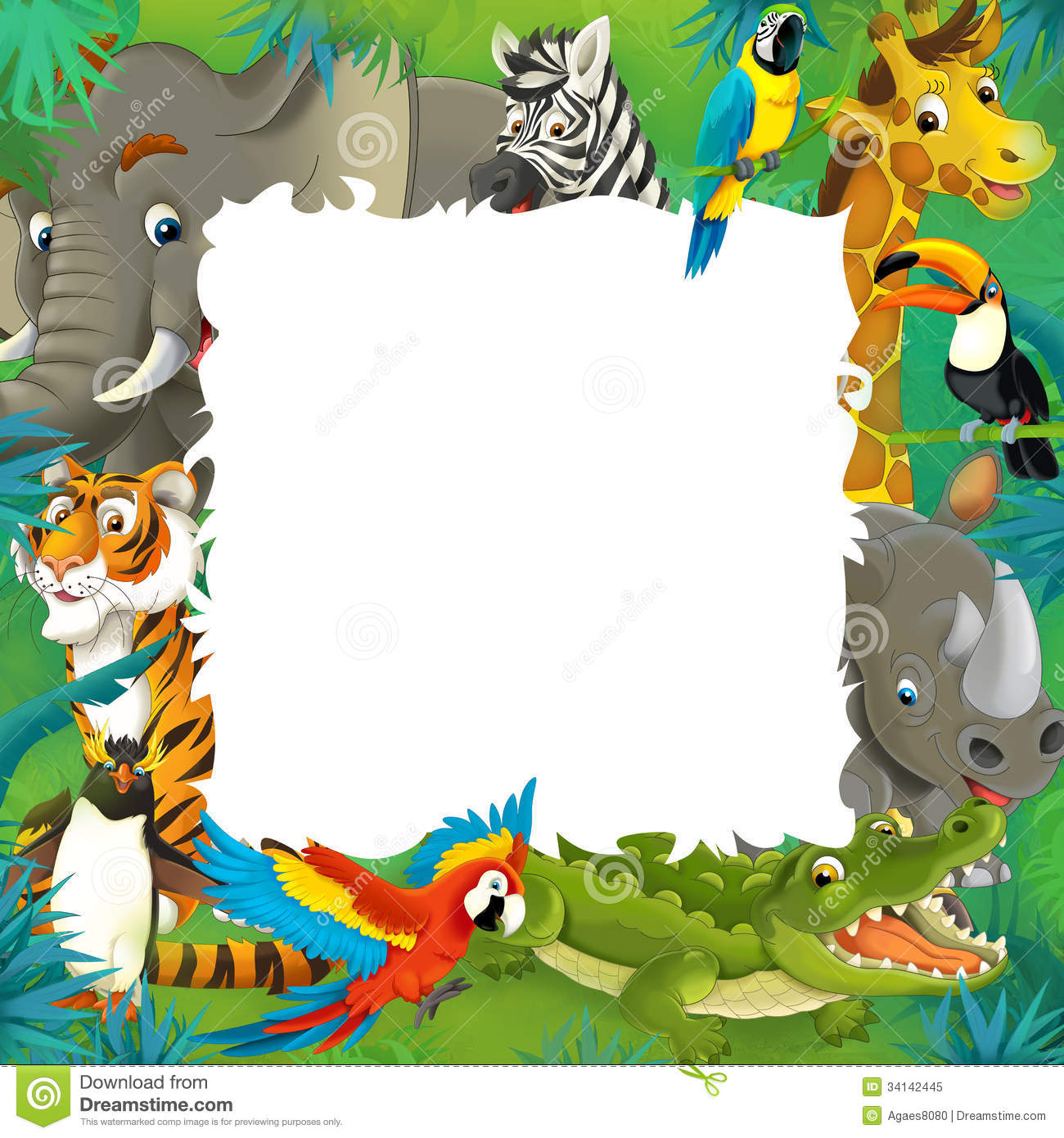 Cartoon Safari - Jungle - Frame Stock Illustration ...