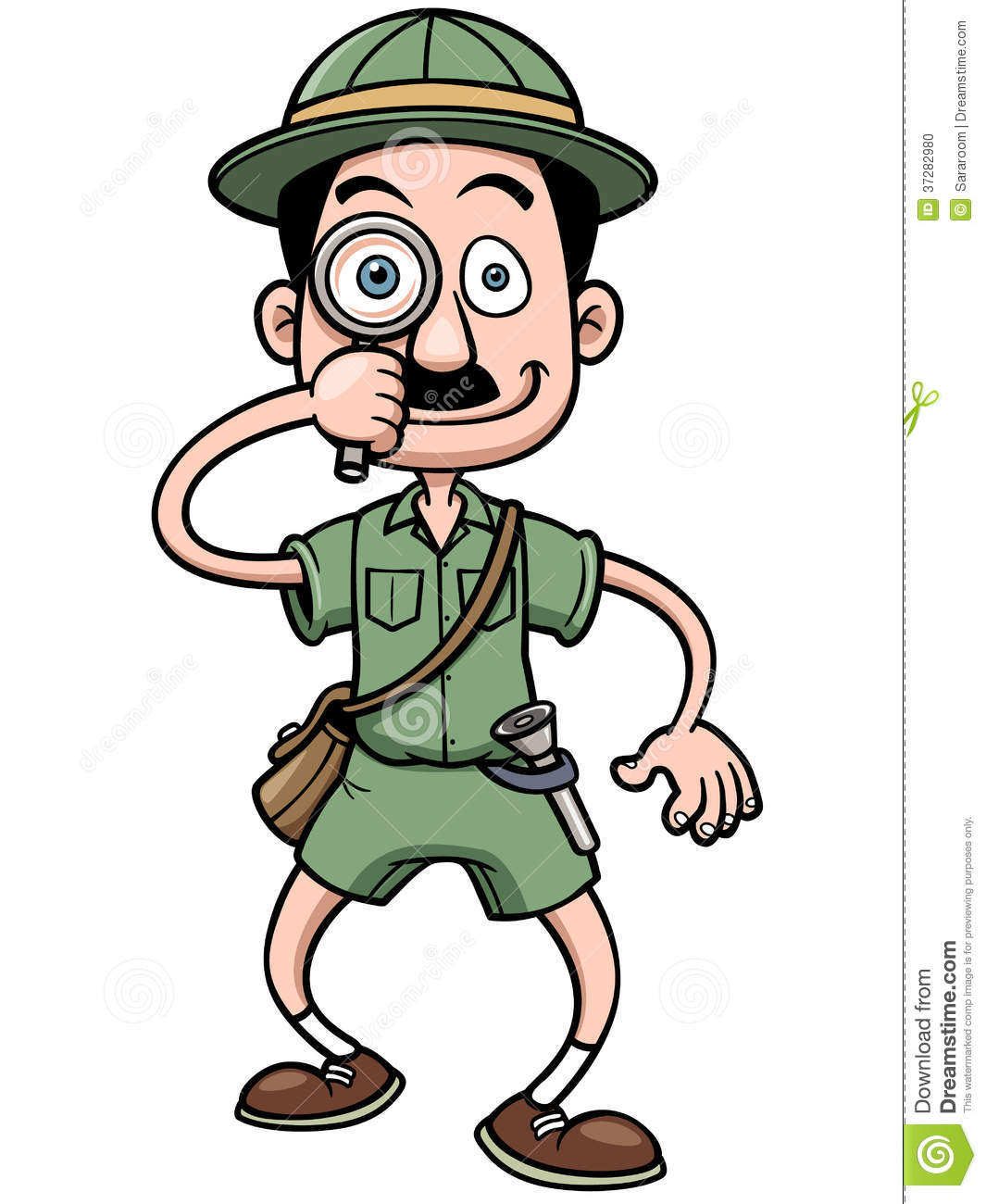 Vector illustration of Cartoon Safari man holding magnifying glass.