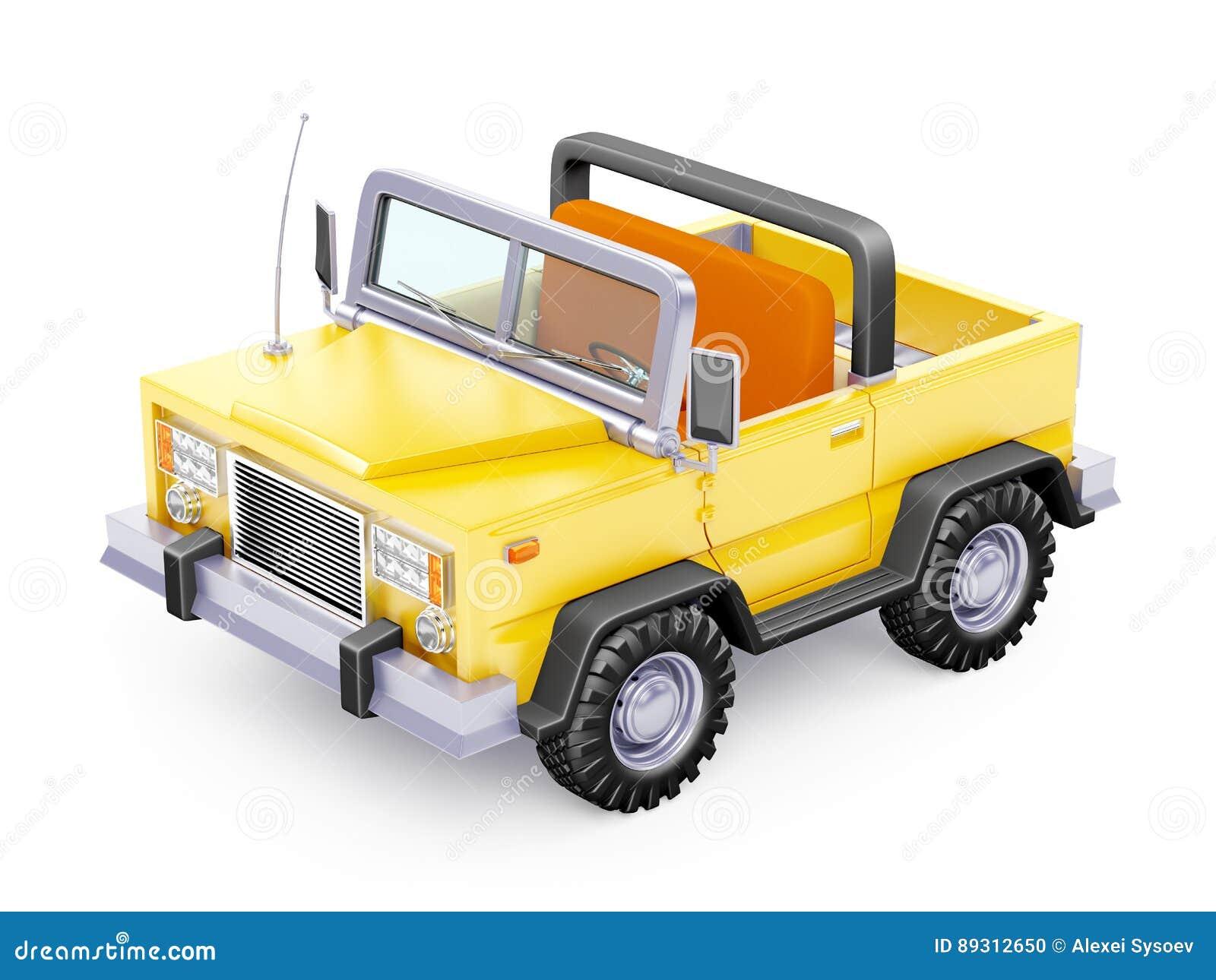 Cartoon Safari Suv Yellow Front Stock Illustration Image