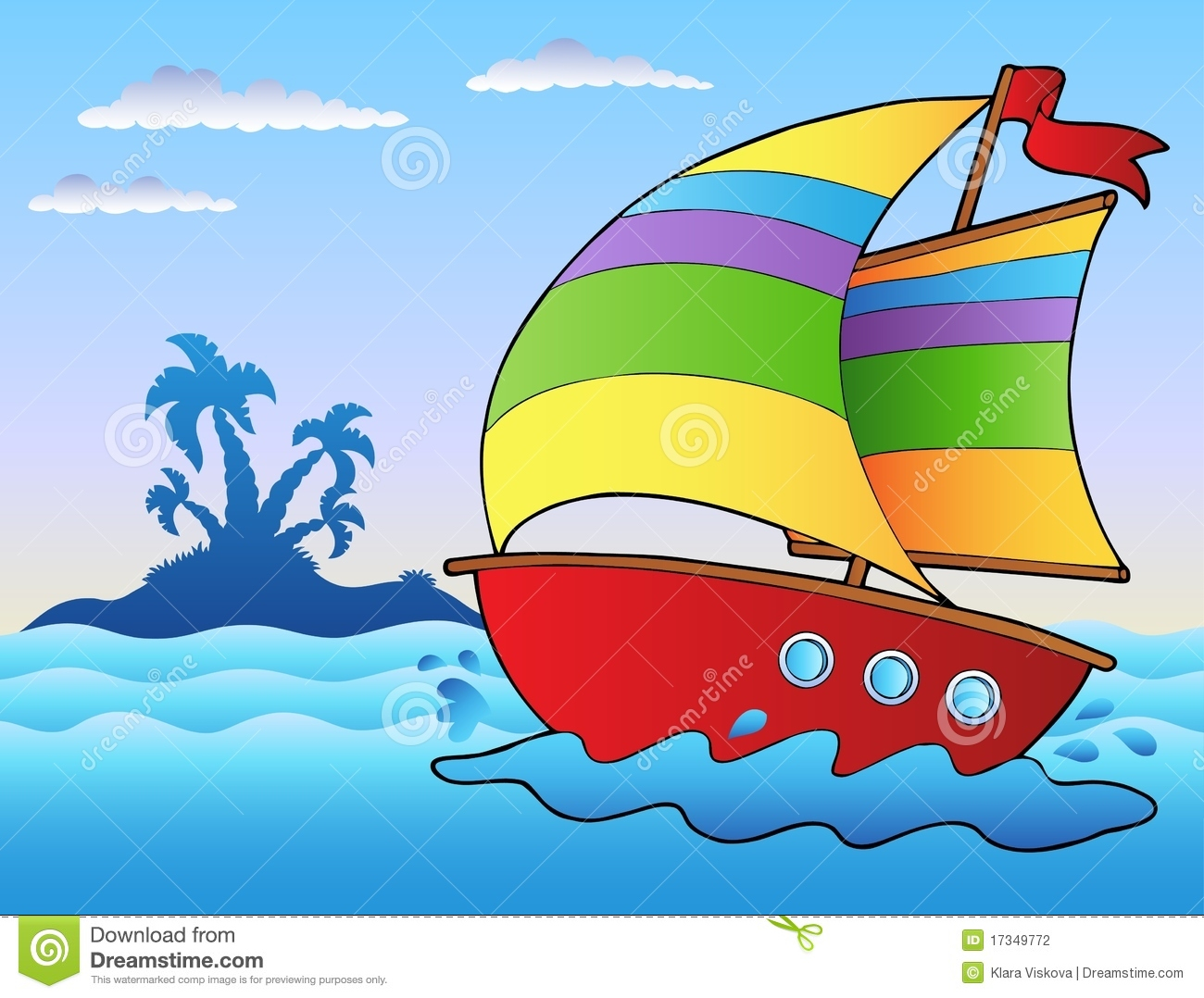 Cartoon Sailboat Near Small Island Stock Vector - Illustration of sailboat, marine: 17349772