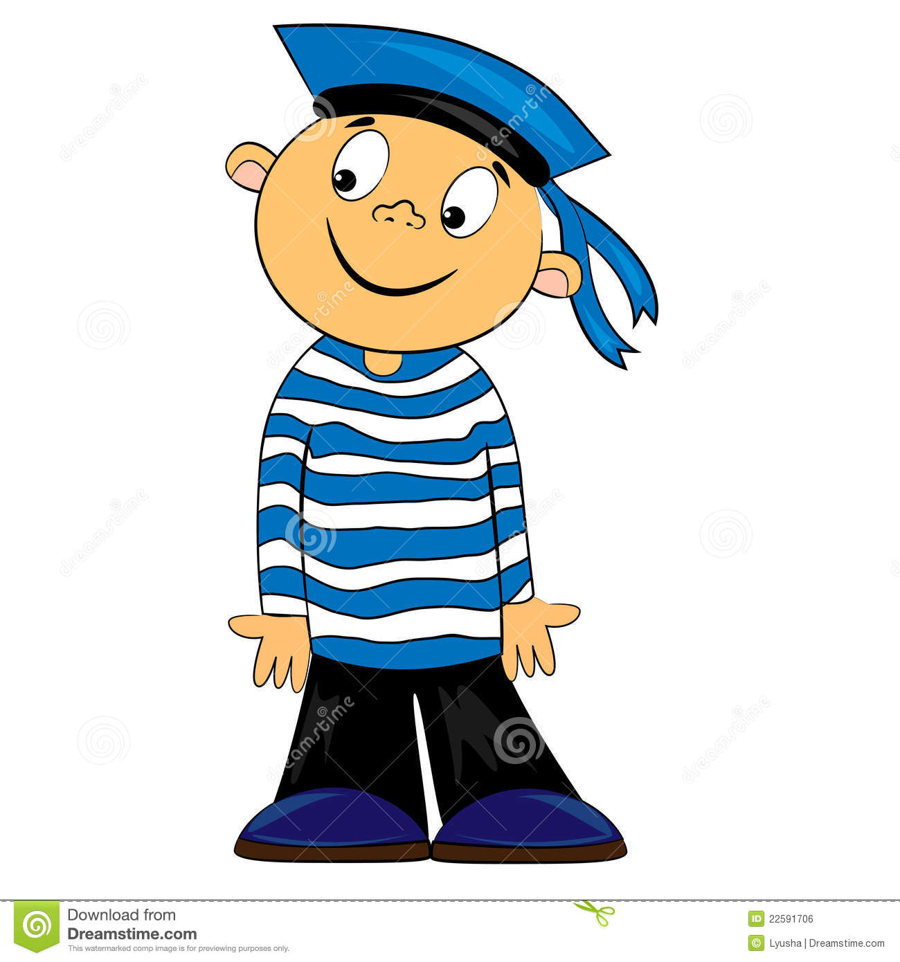 Cartoon sailor kid in striped shirt. boy character isolated on white ...