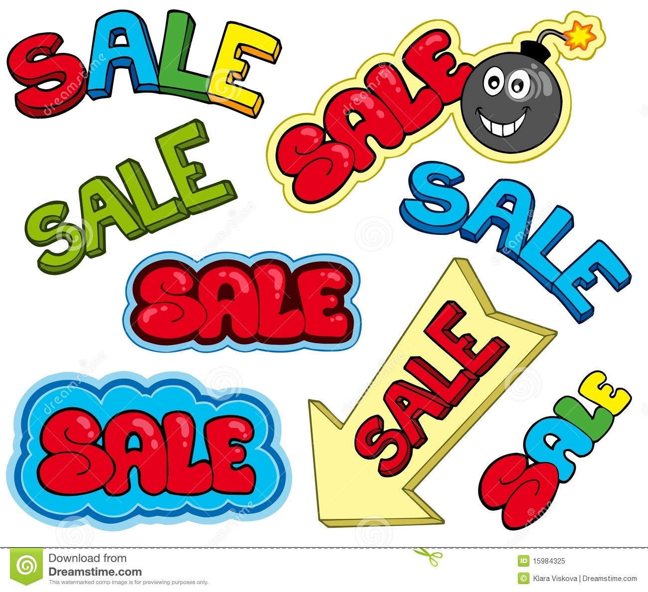 Cartoon Sale Signs Royalty Free Stock Photo - Image: 15984325