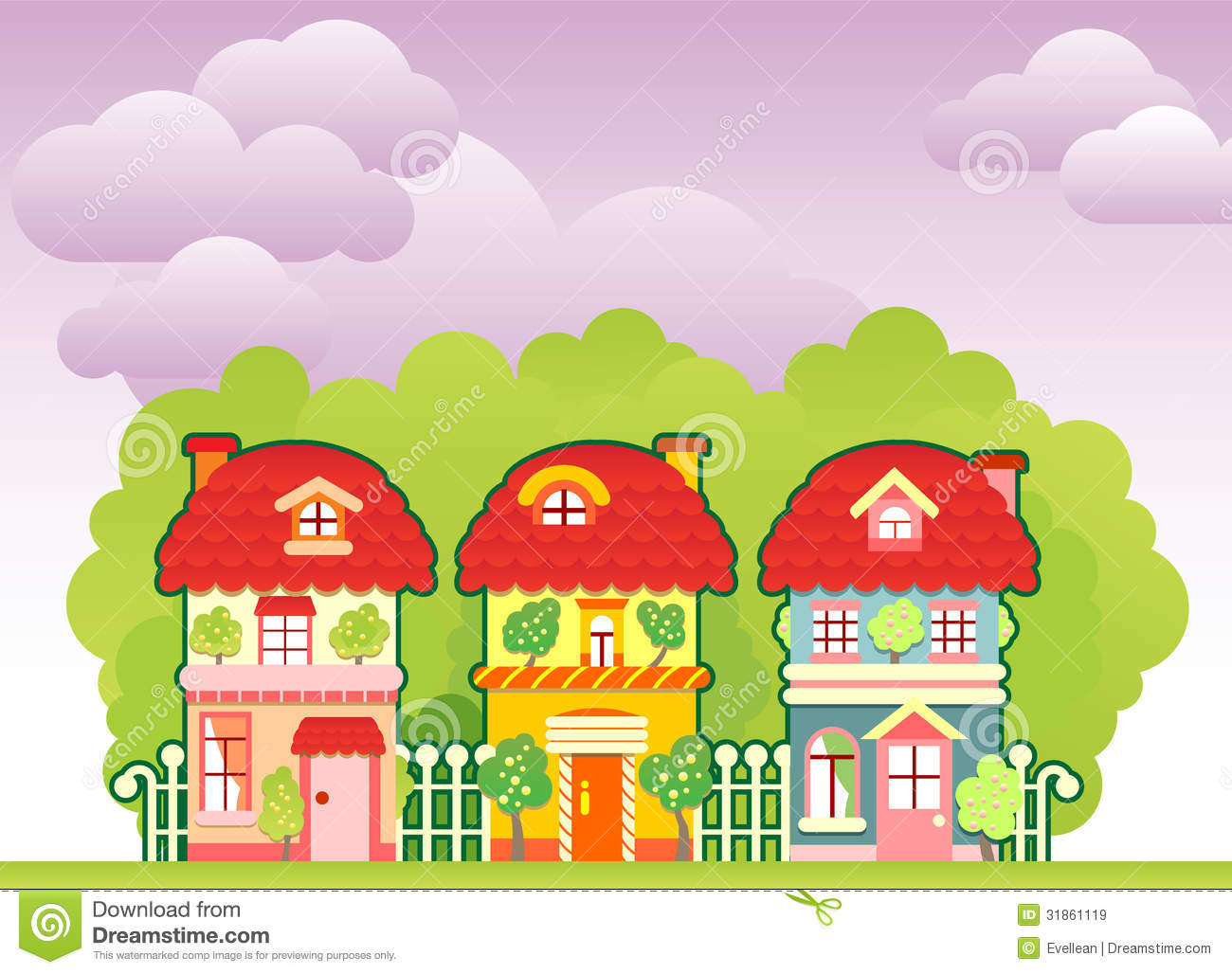 Cartoon Sammer Town Royalty Free Stock Images Image