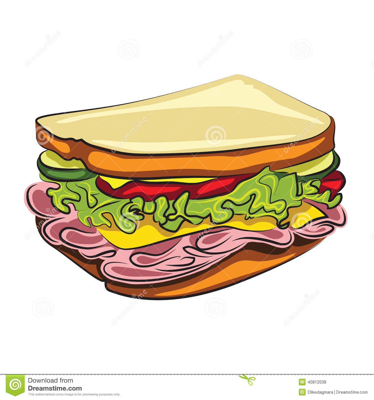 Cartoon Sandwich Stock Vector - Image: 40812038