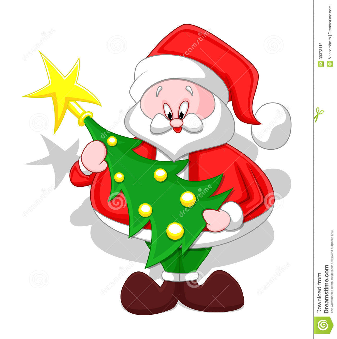 Conceptual Drawing Art Of Cute Cartoon Santa Claus Holding A Christmas Tree Vector Illustration
