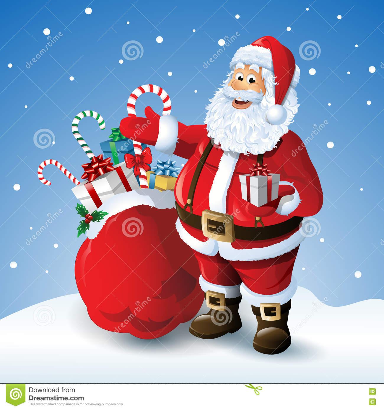 Cartoon Santa Claus With A Bag Of Toys In Front Winter