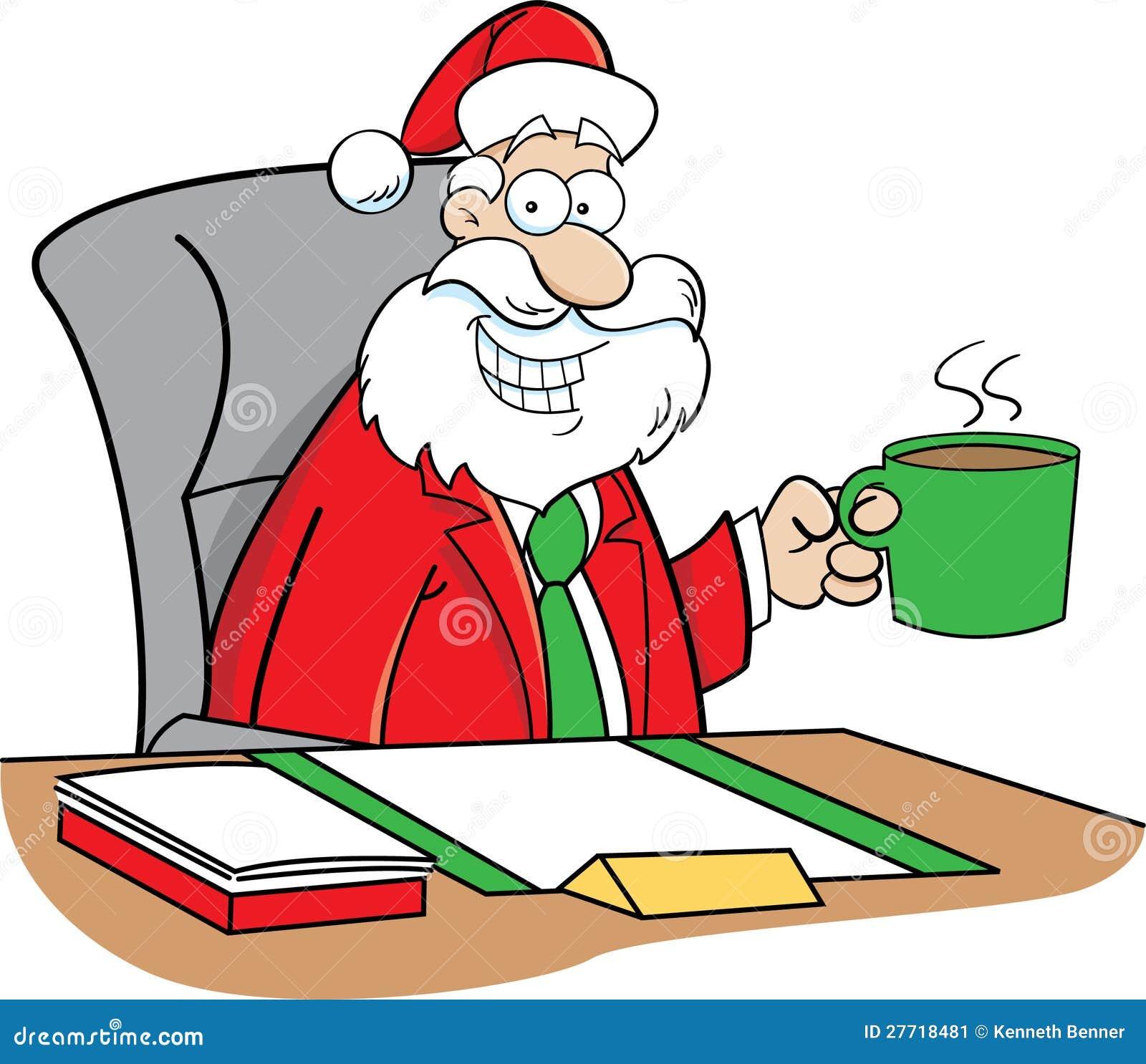 Cartoon Santa Claus Drinking Coffee Stock Image - Image ...