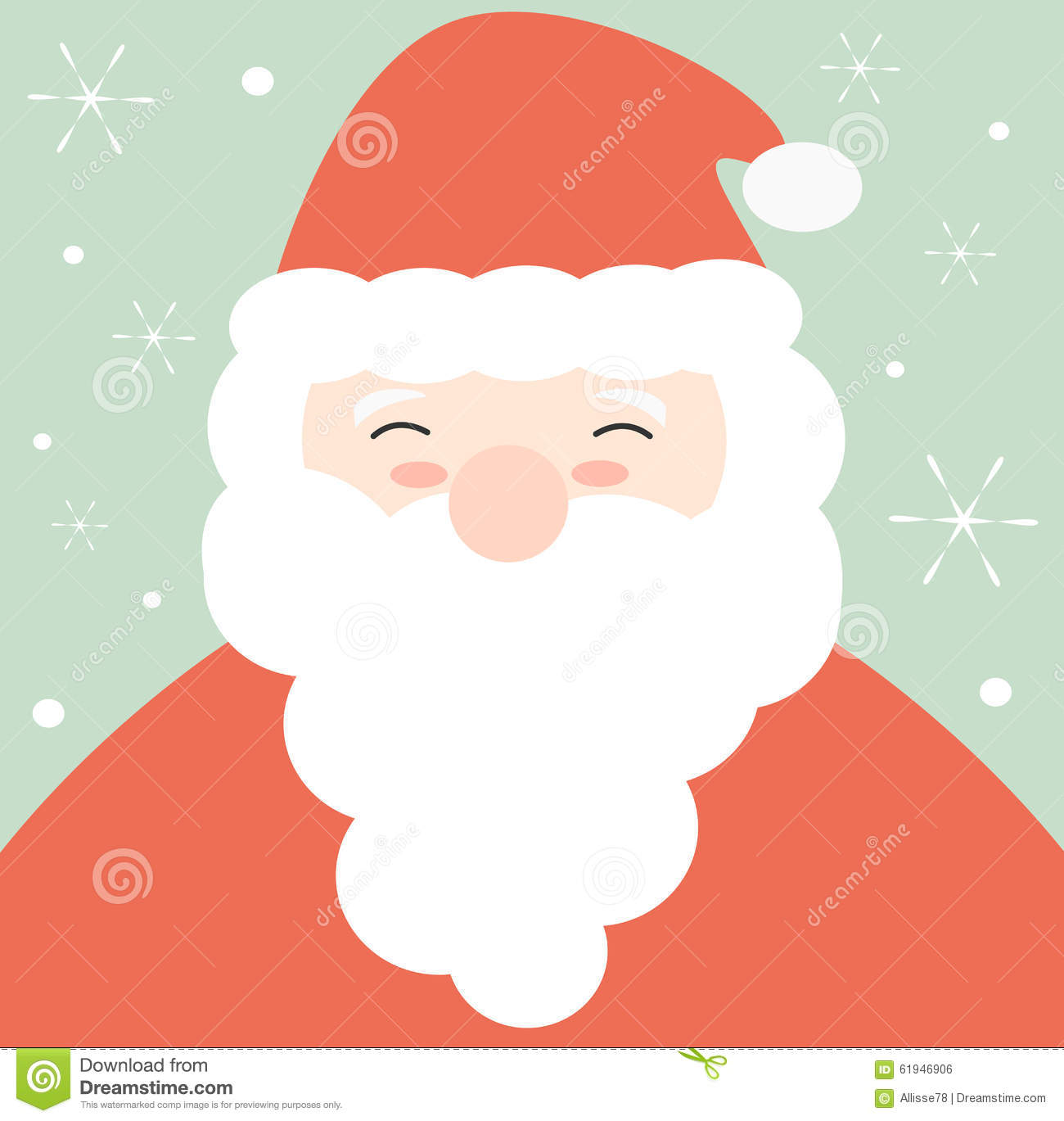 Cartoon Santa Claus Face Cute Illustration For Christmas ...