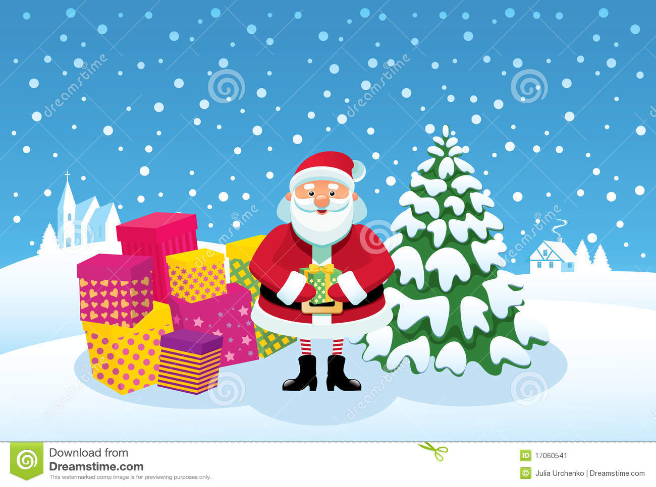 Santa claus with gifts viewing gallery