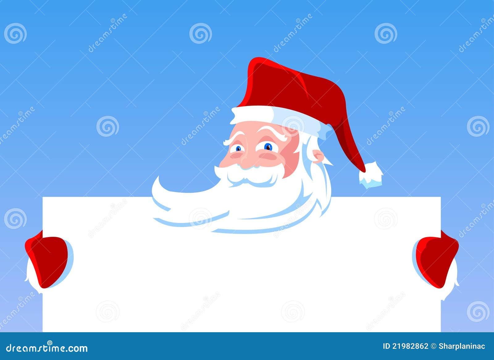 Cartoon santa claus holding blank banner stock vector