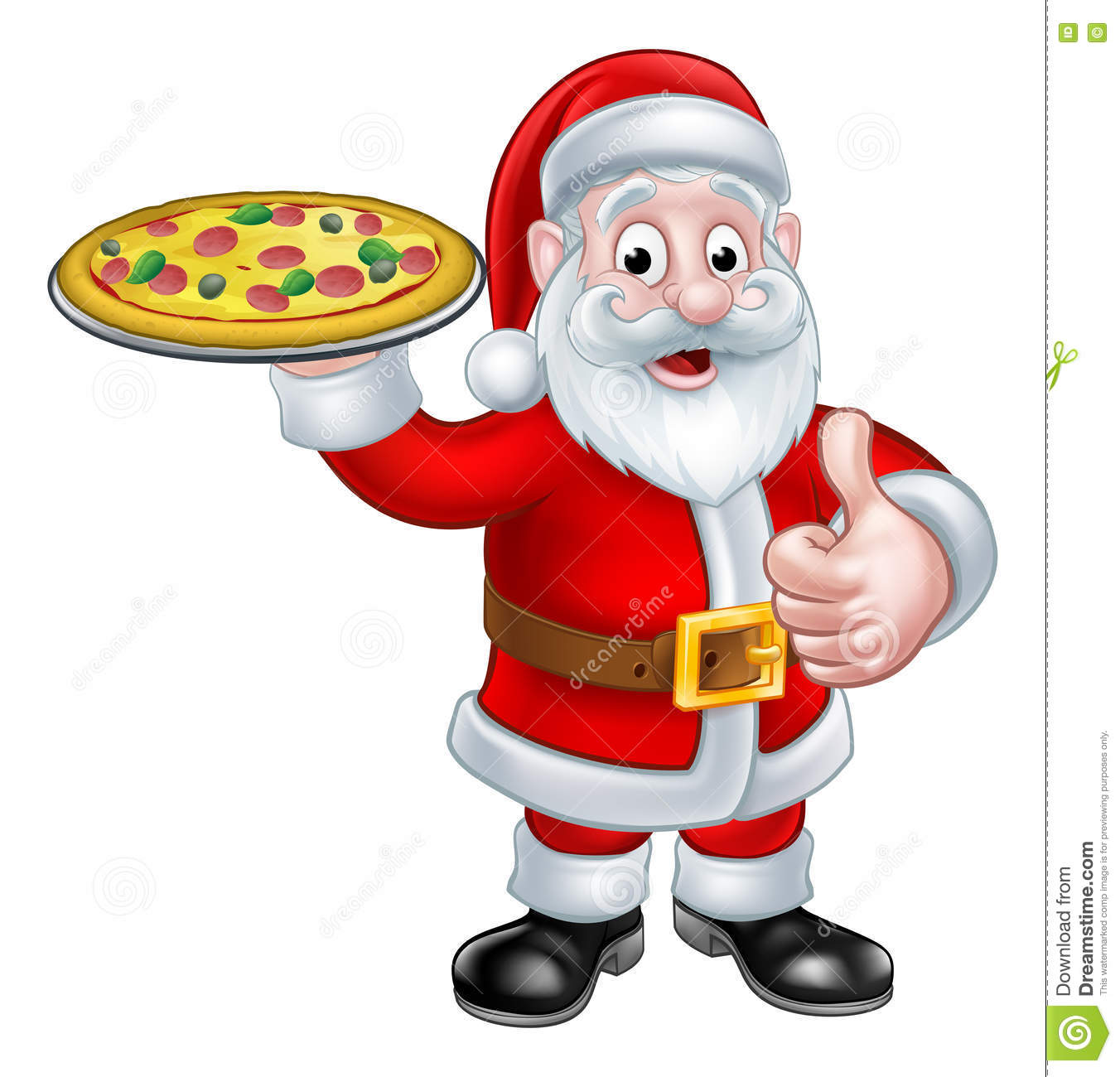 cartoon santa claus holding pizza stock vector image. Black Bedroom Furniture Sets. Home Design Ideas
