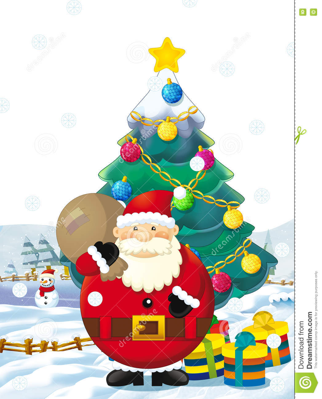 Christmas Tree With Presents And Santa - Cartoon santa claus with presents standing and smiling gifts happy snowman christmas tree
