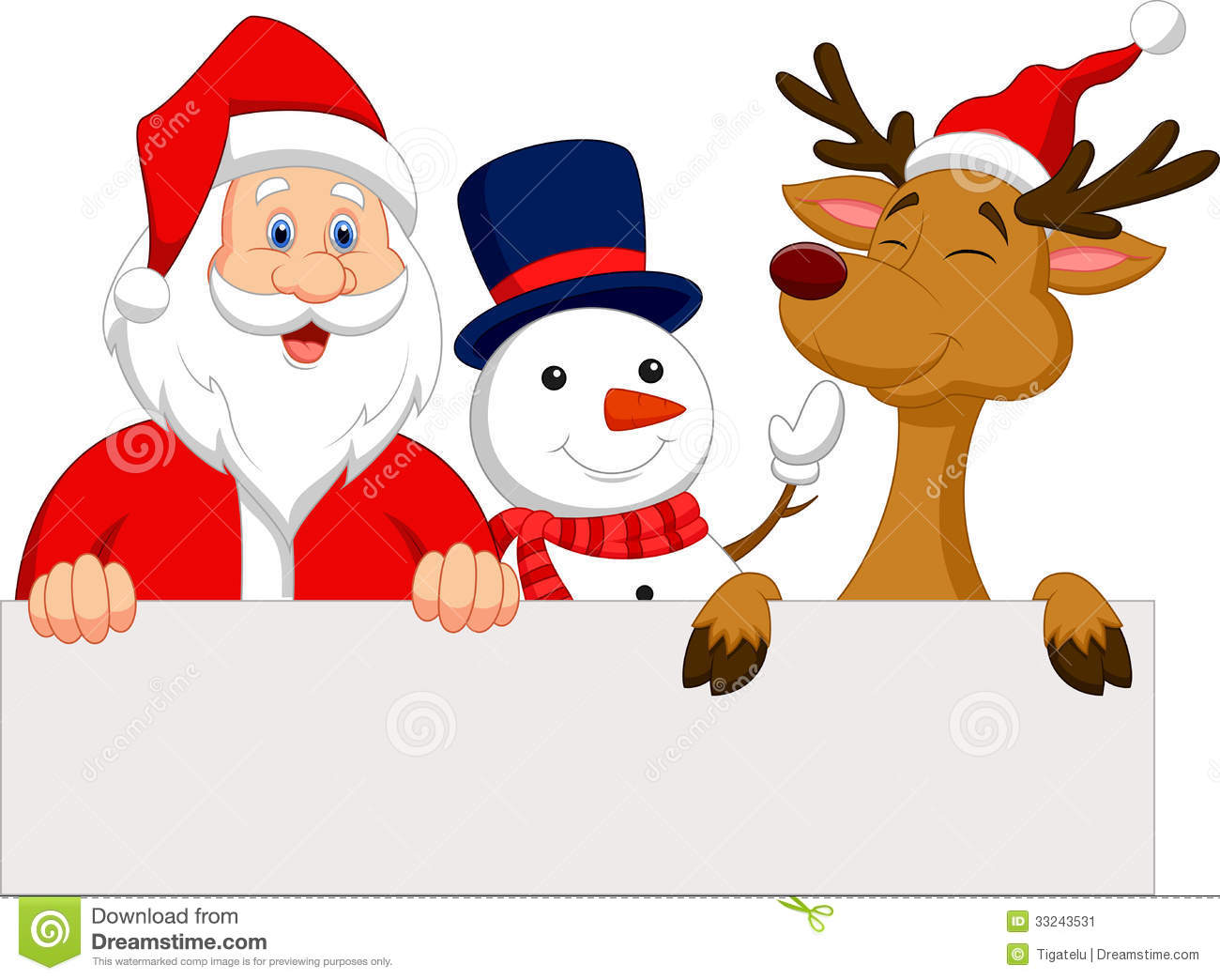 Cartoon Santa Claus, Reindeer And Snowman With Blank Sign Stock Image ...