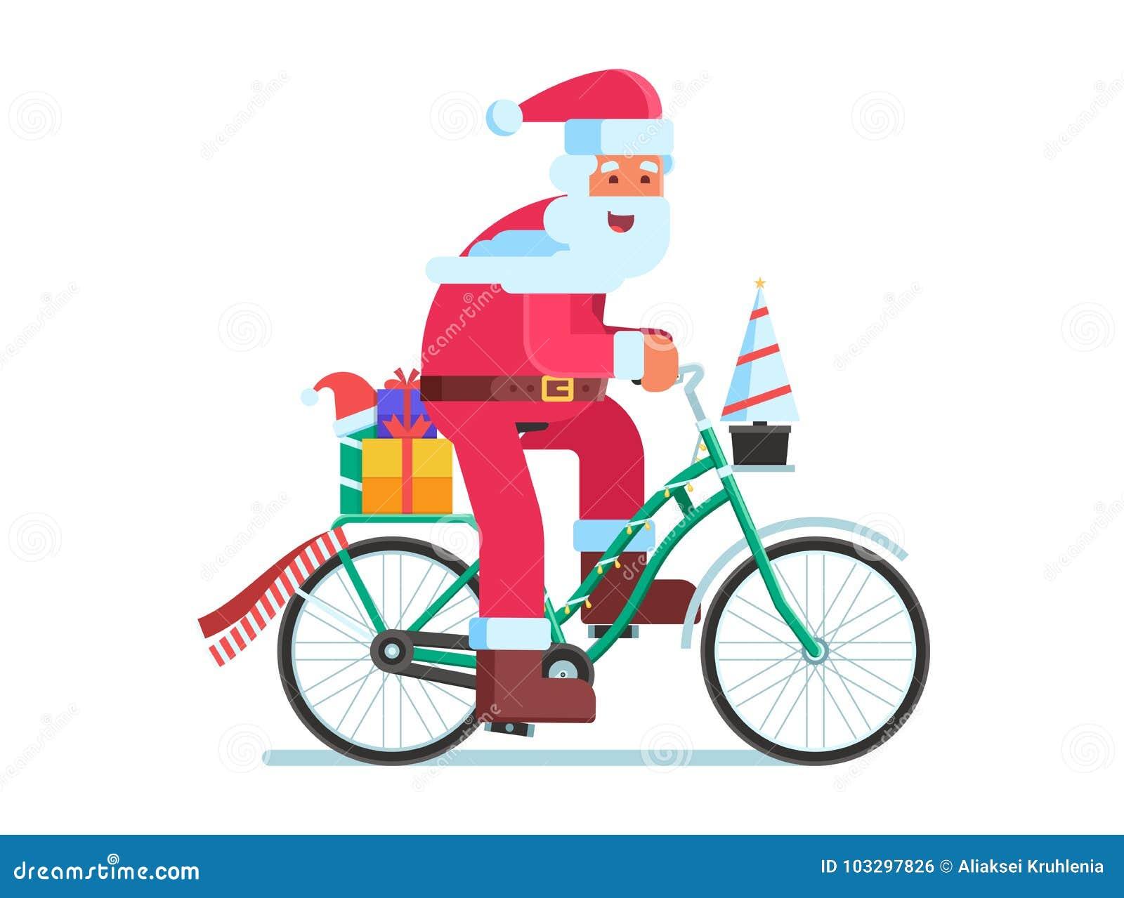 Santa With Gift Bag On Christmas Bike Stock Vector ...