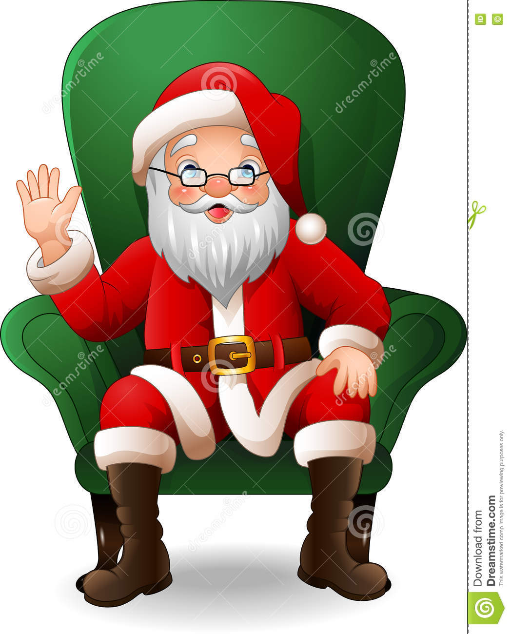 Cartoon Santa Claus Sitting On Green Arm Chair Stock