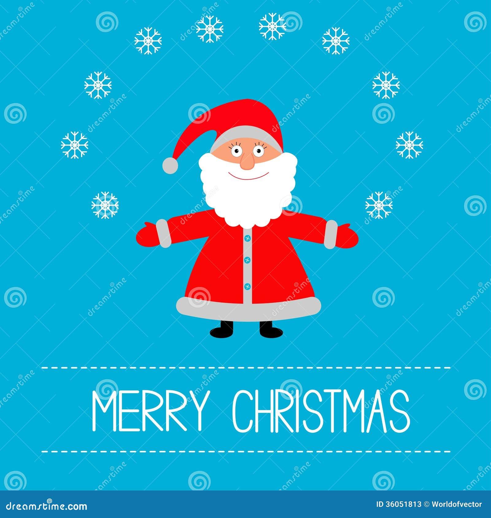 Cartoon santa claus and snowflakes merry christma stock
