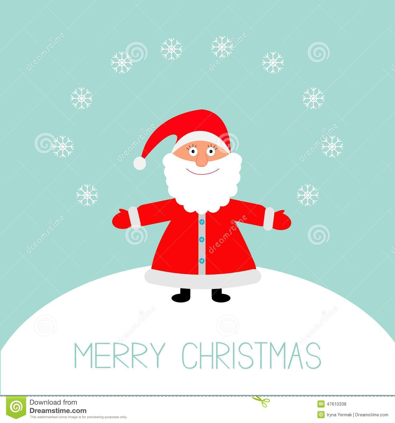 Cartoon Santa Claus And Snowflakes On The Snowhill. Merry Christmas Card Flat Design Stock ...