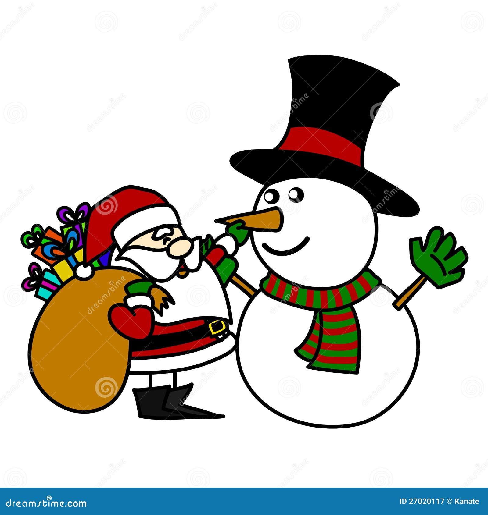 ... Free Stock Photography: Cartoon Santa Claus and snowman hand writing