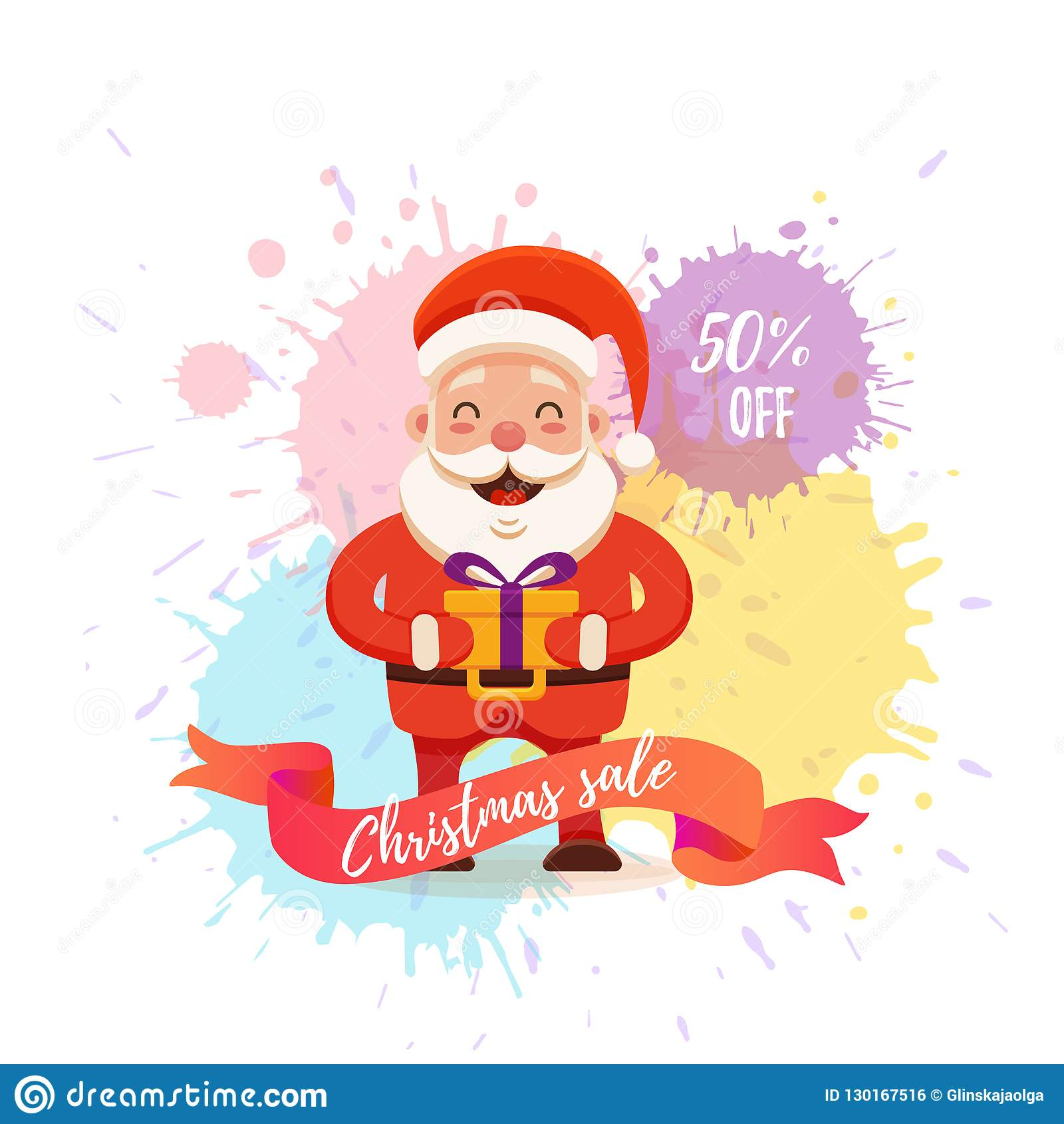 cartoon santa claus for your christmas and new year greeting design animation sale discounts vector isolated illustration of happy noel father on