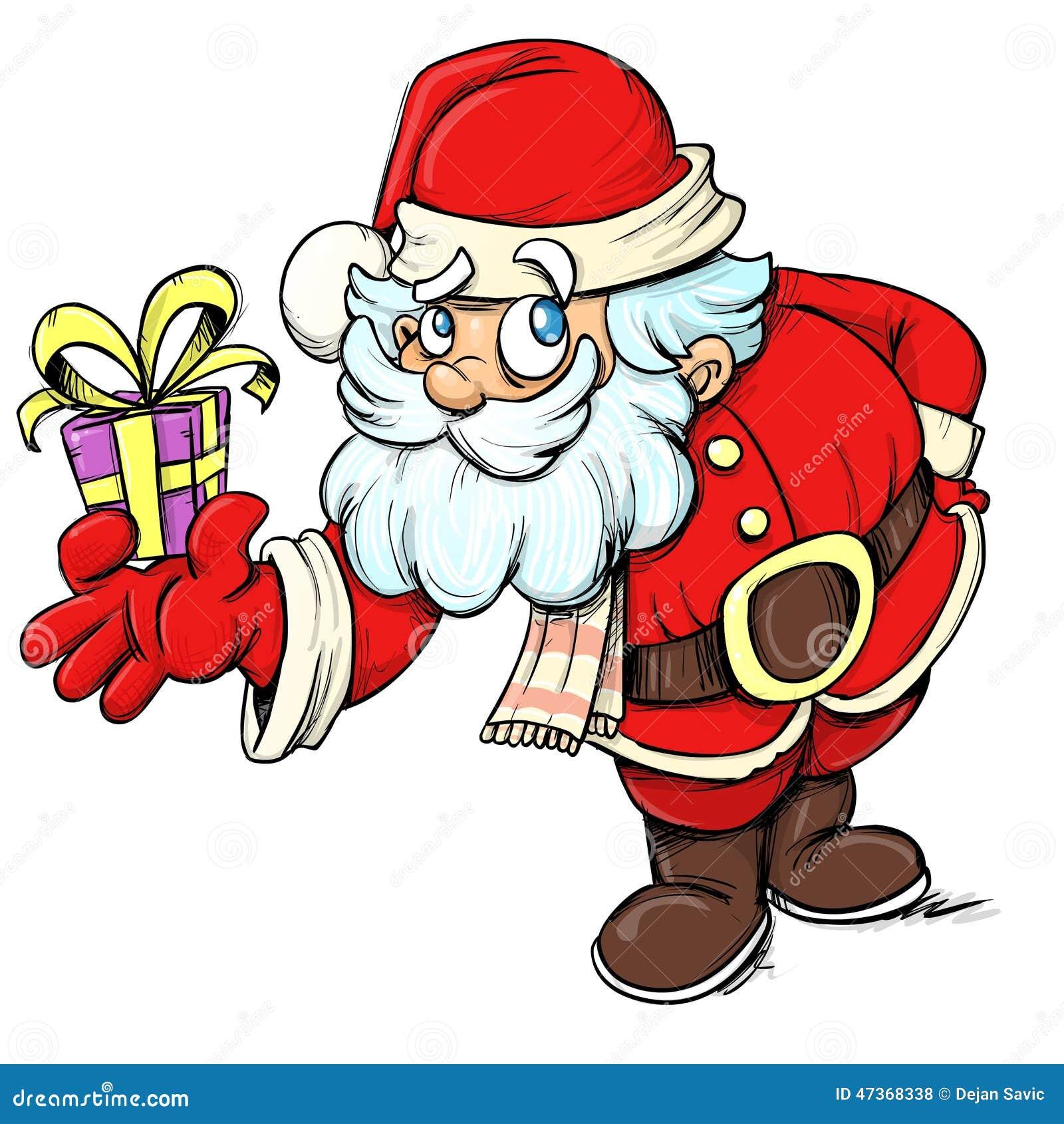 Cartoon Santa Clause giving a present