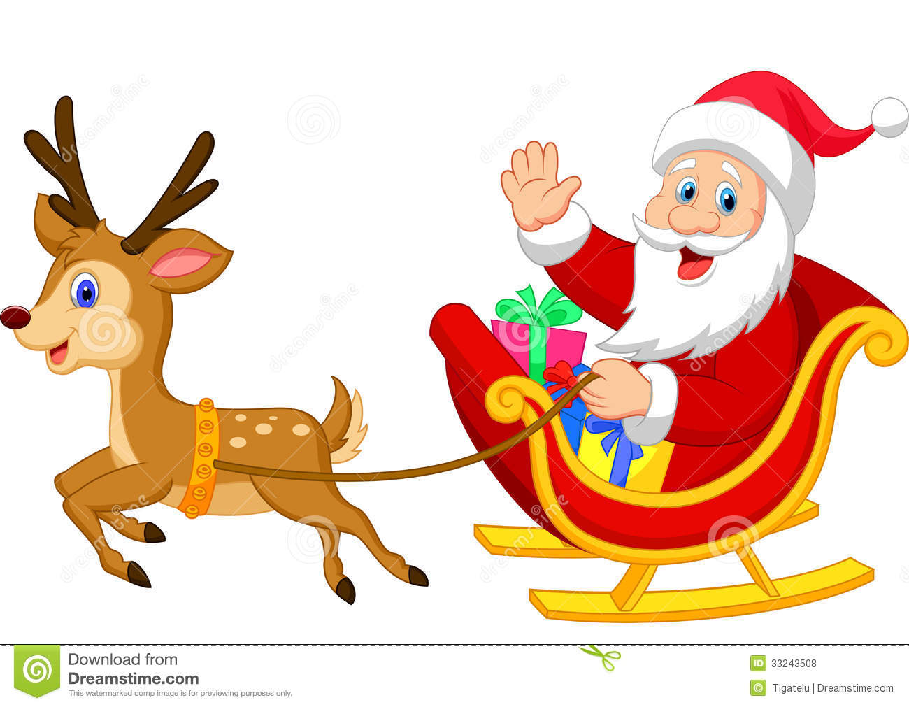 cartoon santa drives his sleigh stock vector santa and rudolph clipart rudolph clip art black and white