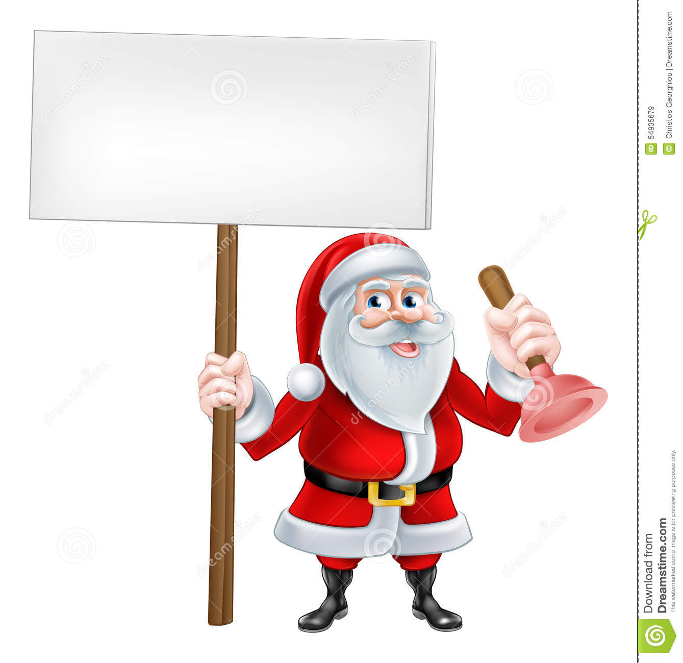 Cartoon santa plumber stock vector image of claus pump
