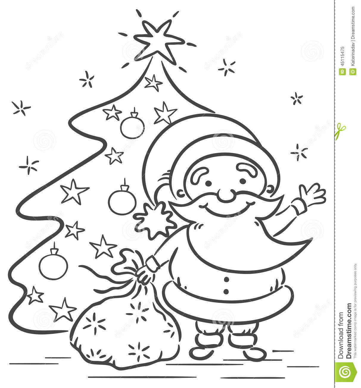Cartoon Santa With Presents And Christmas Tree Stock Vector
