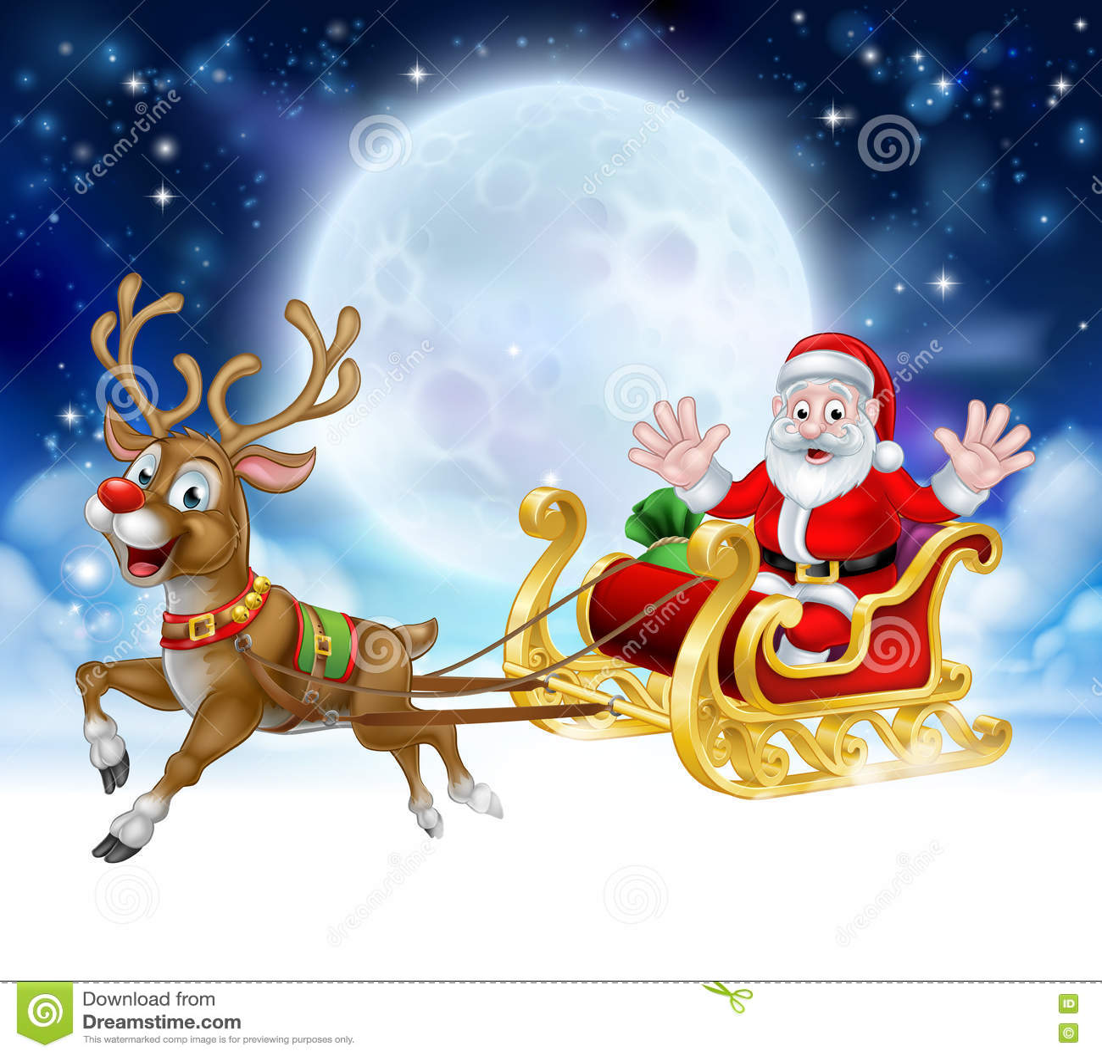 cartoon santa reindeer sleigh christmas scene stock vector image